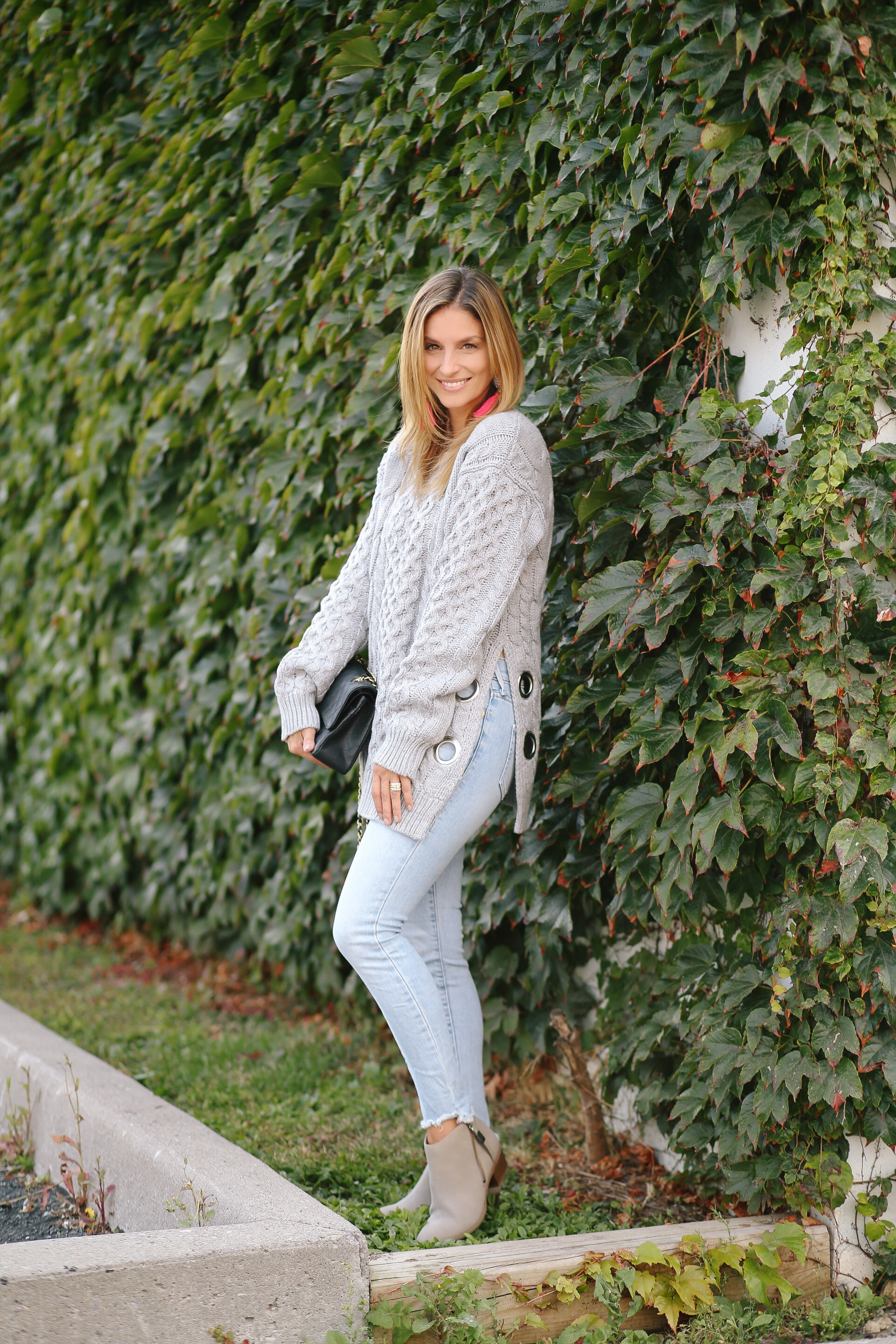 Chicwish Chic Exploration Cable Knit Sweater in Grey