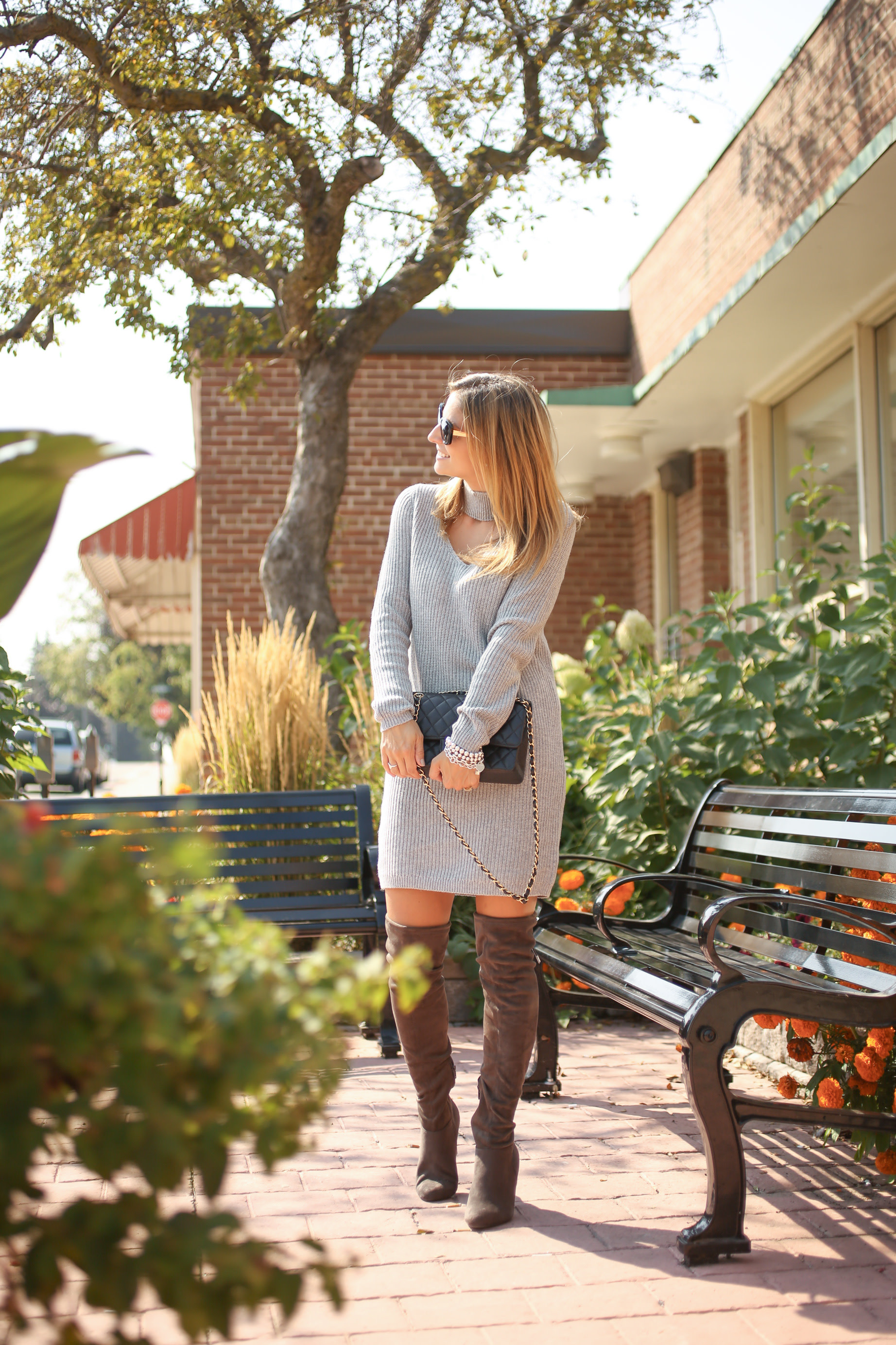 Grey sweater dress with grey over the knee boots