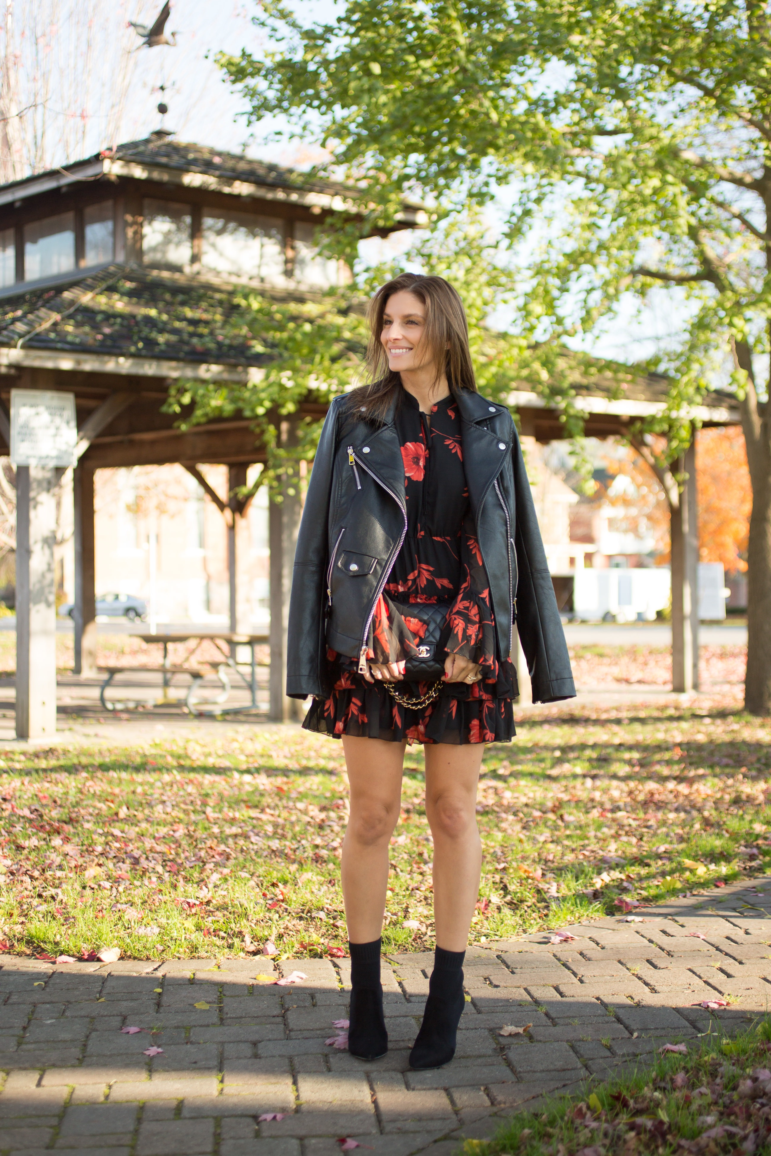Floral dress for fall with leather jacket and pointed toe ankle boots Scarborough Town Centre sparkleshinylove Mandy Furnis