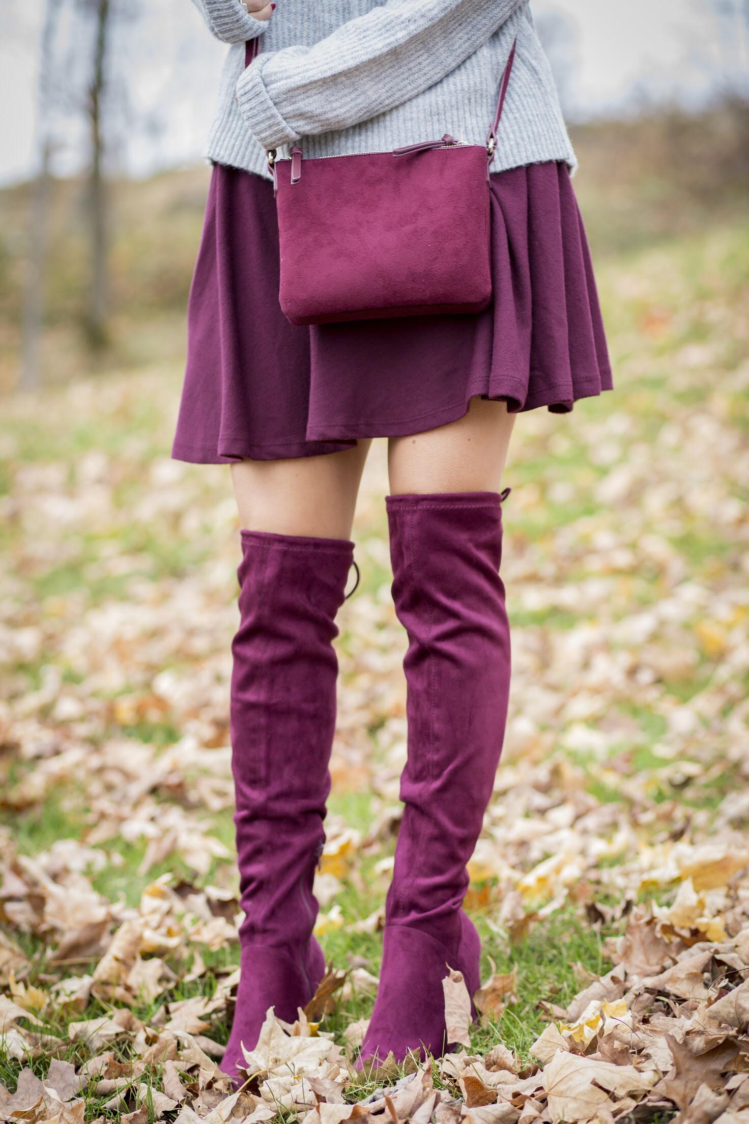 styling Burgundy over the knee boots, burgundy skirt and crossbody bag blogger style sparkleshinylove