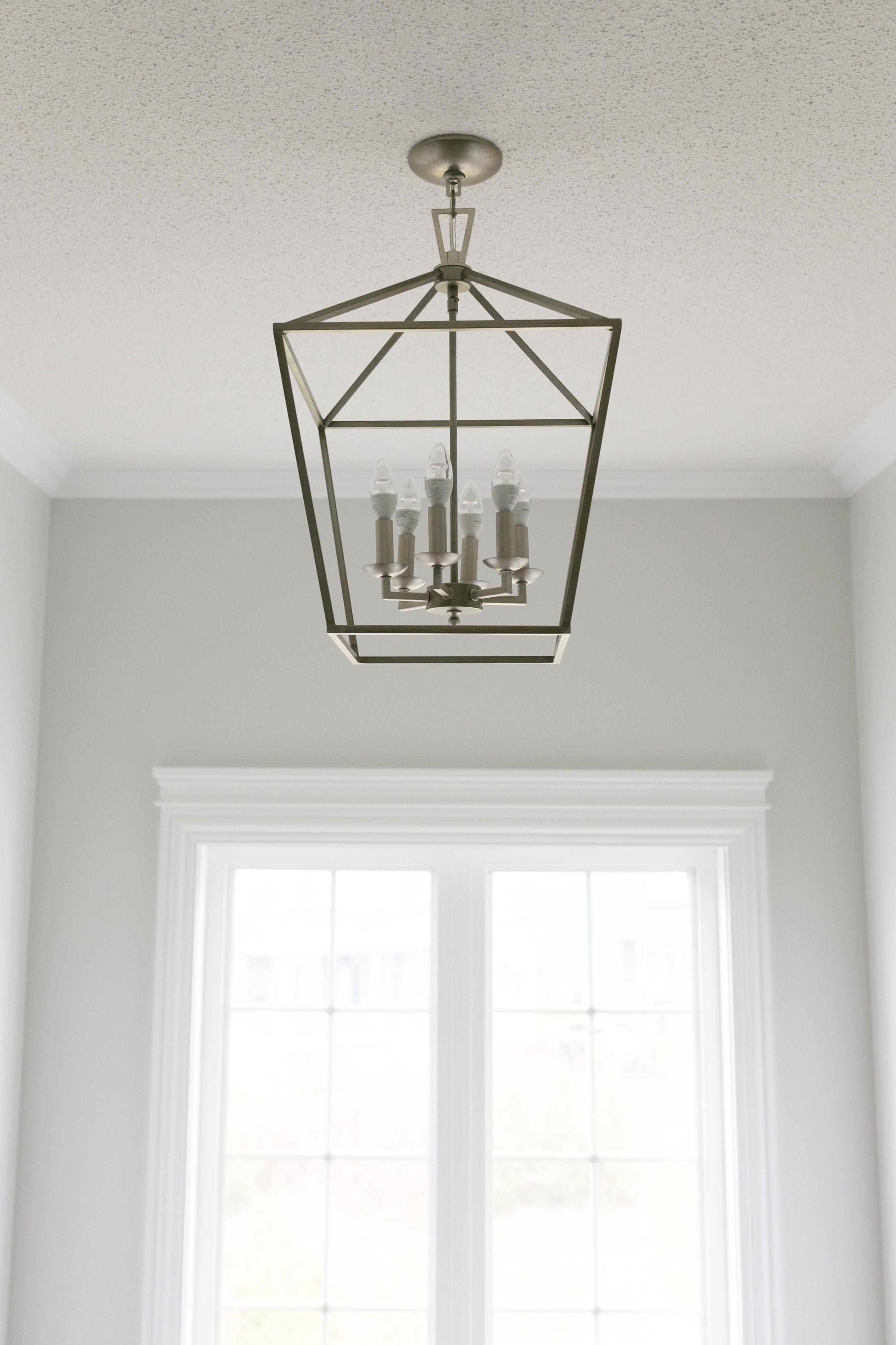 White Hallway with square chandelier sparkleshinylove