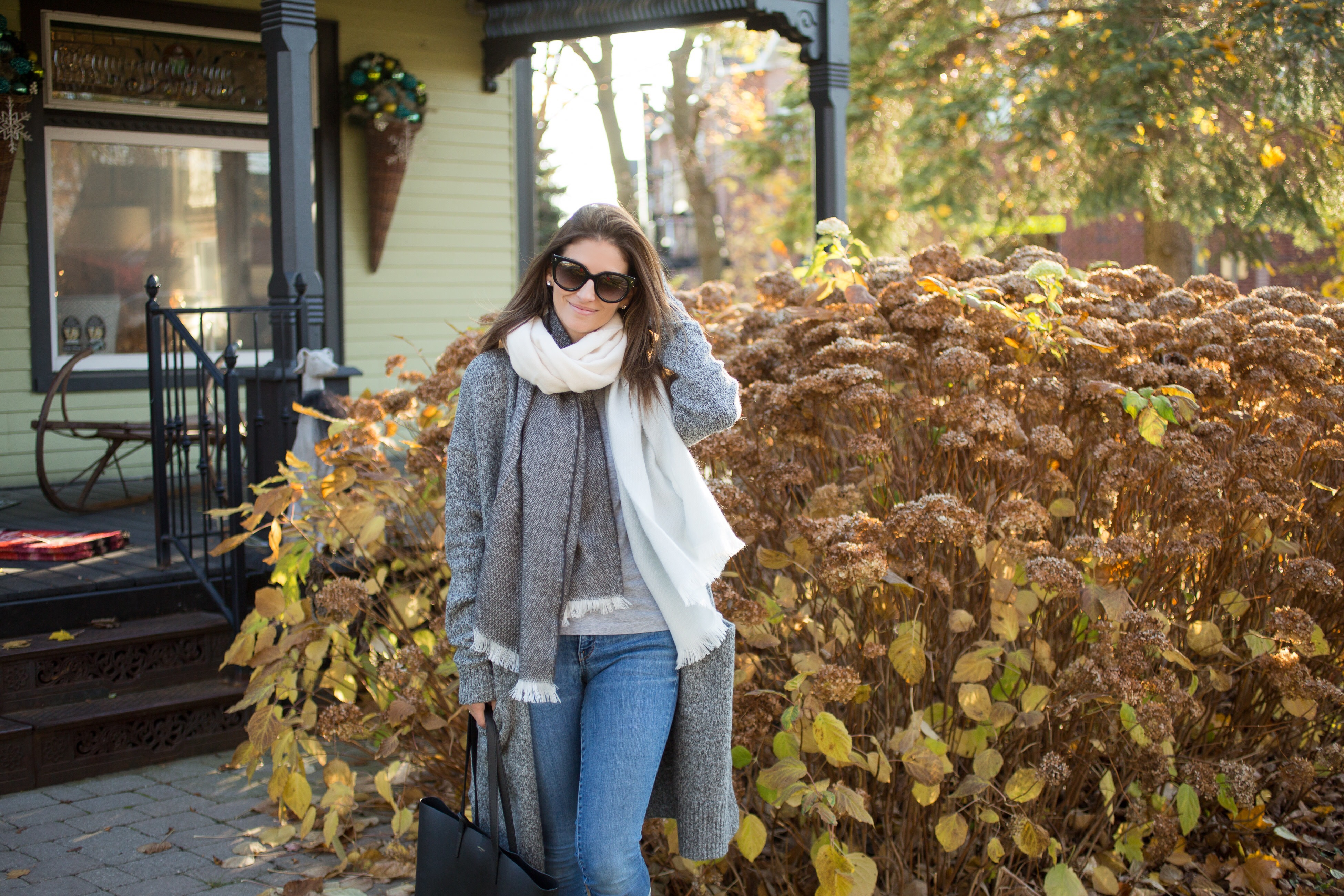 cozy weekend look with cardigan and scarf