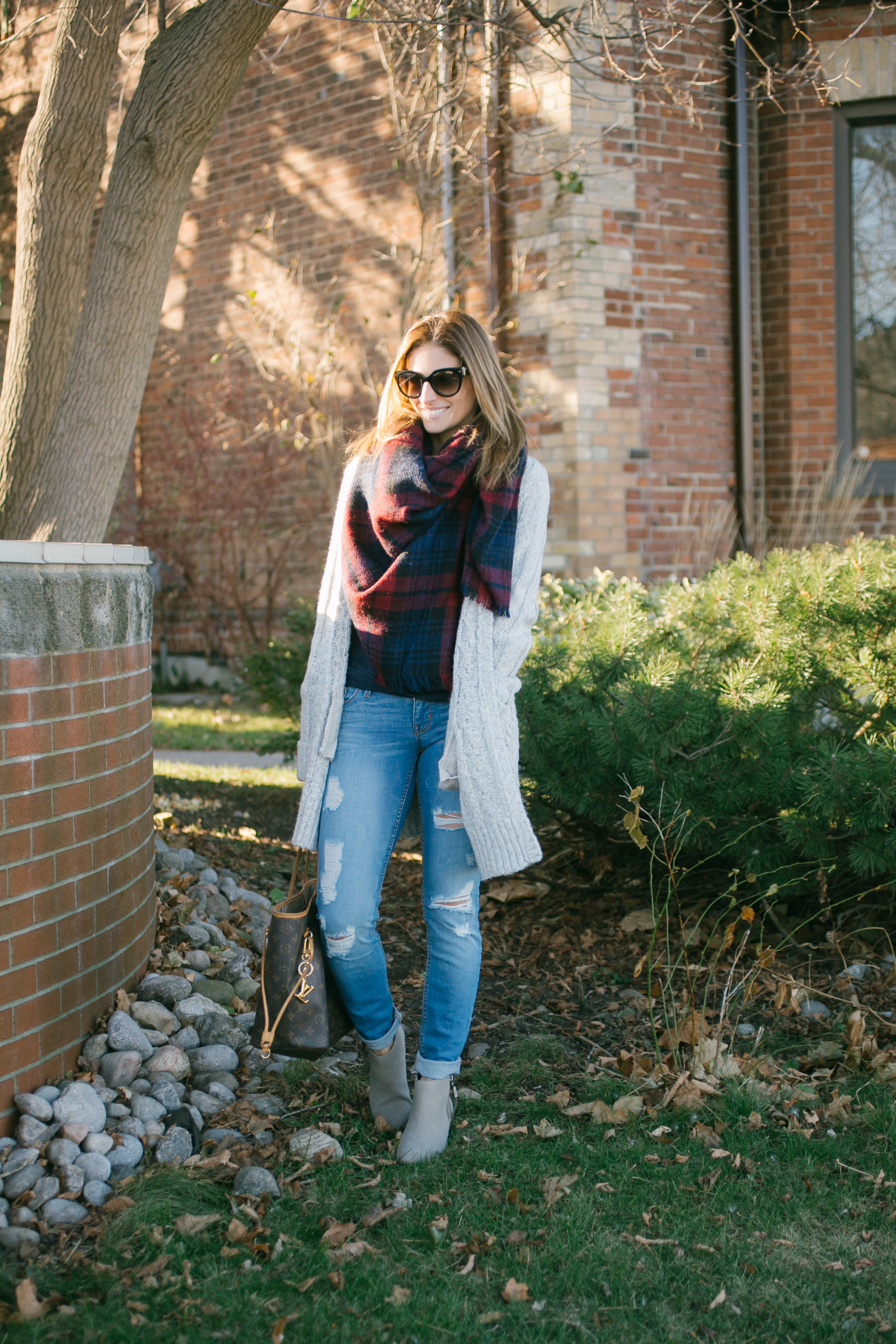 Winter weekend outfit with plaid blanket scarf, cardigan, distressed Guess jeans and louis vuitton never full sparkleshinylove