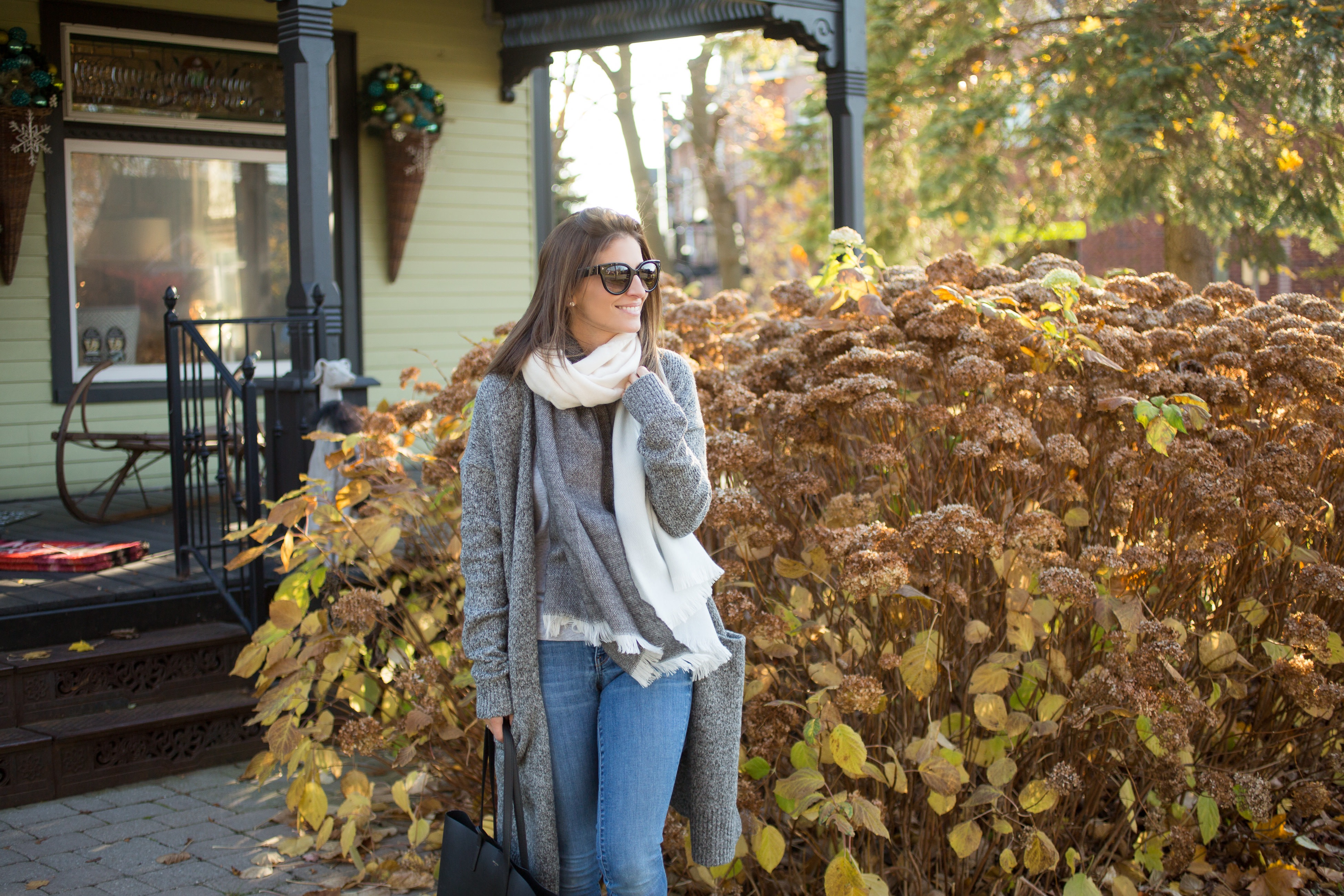 cozy scarf outfit with cardigan for winter look