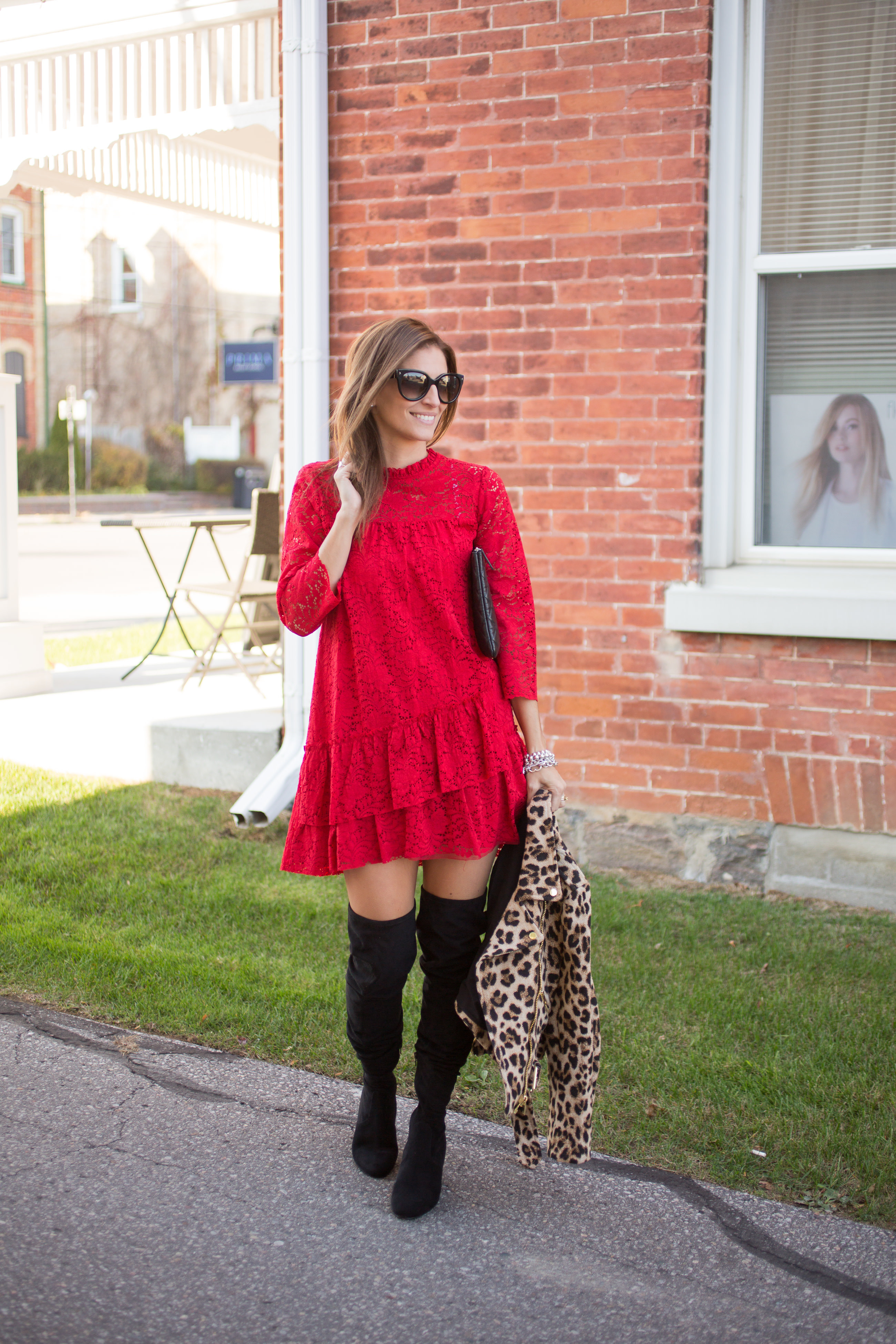 Red lace dress for the holidays with leopard moto jacket sparkleshinylove mandy furnis