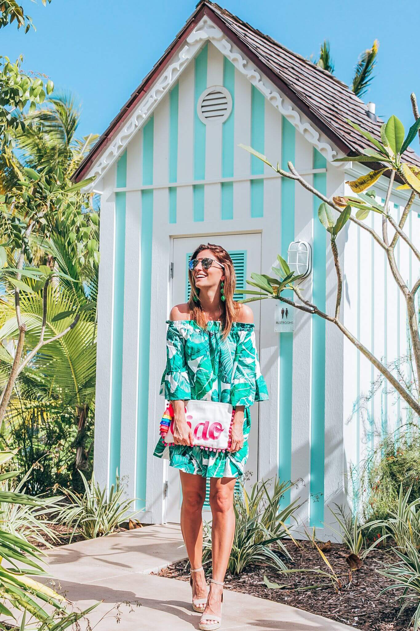 Palm print summer dress, ciao tassel and pom pom clutch, nude espadrilles, green drop earrings, dior so real sunglasses, mandy furnis sparkleshinylove, baha mar resort style