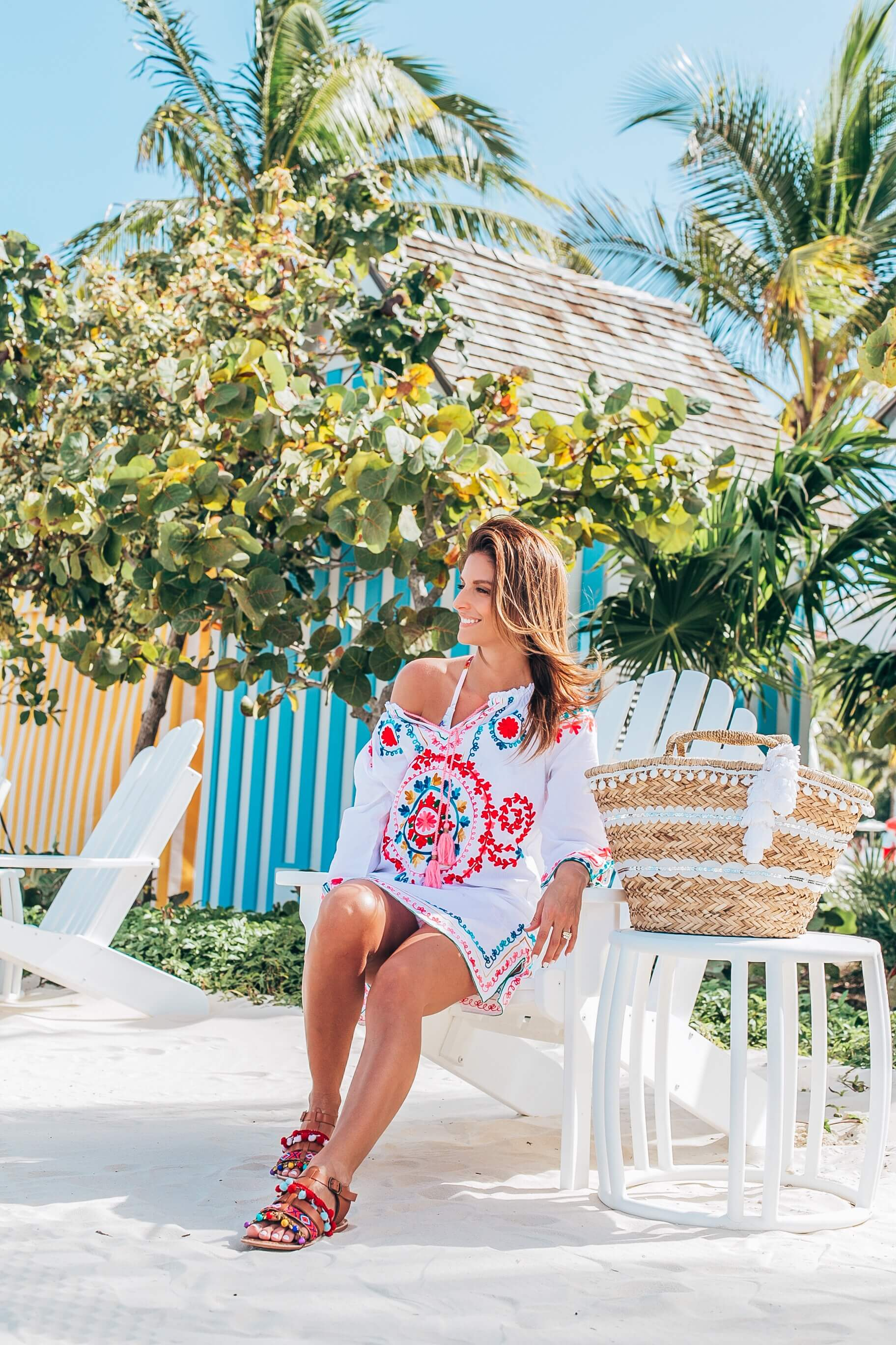 Colourful beach coverup, pom pom sandals, straw bag with pom poms, baha mar resort, Mandy Furnis sparkleshinylove Durham Region blogger