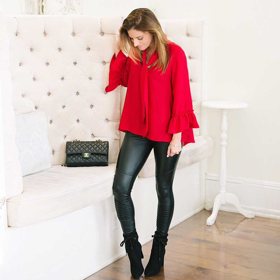 Valentine's Day date night look with leather leggings and red blouse sparkleshinylove Mandy Furnis