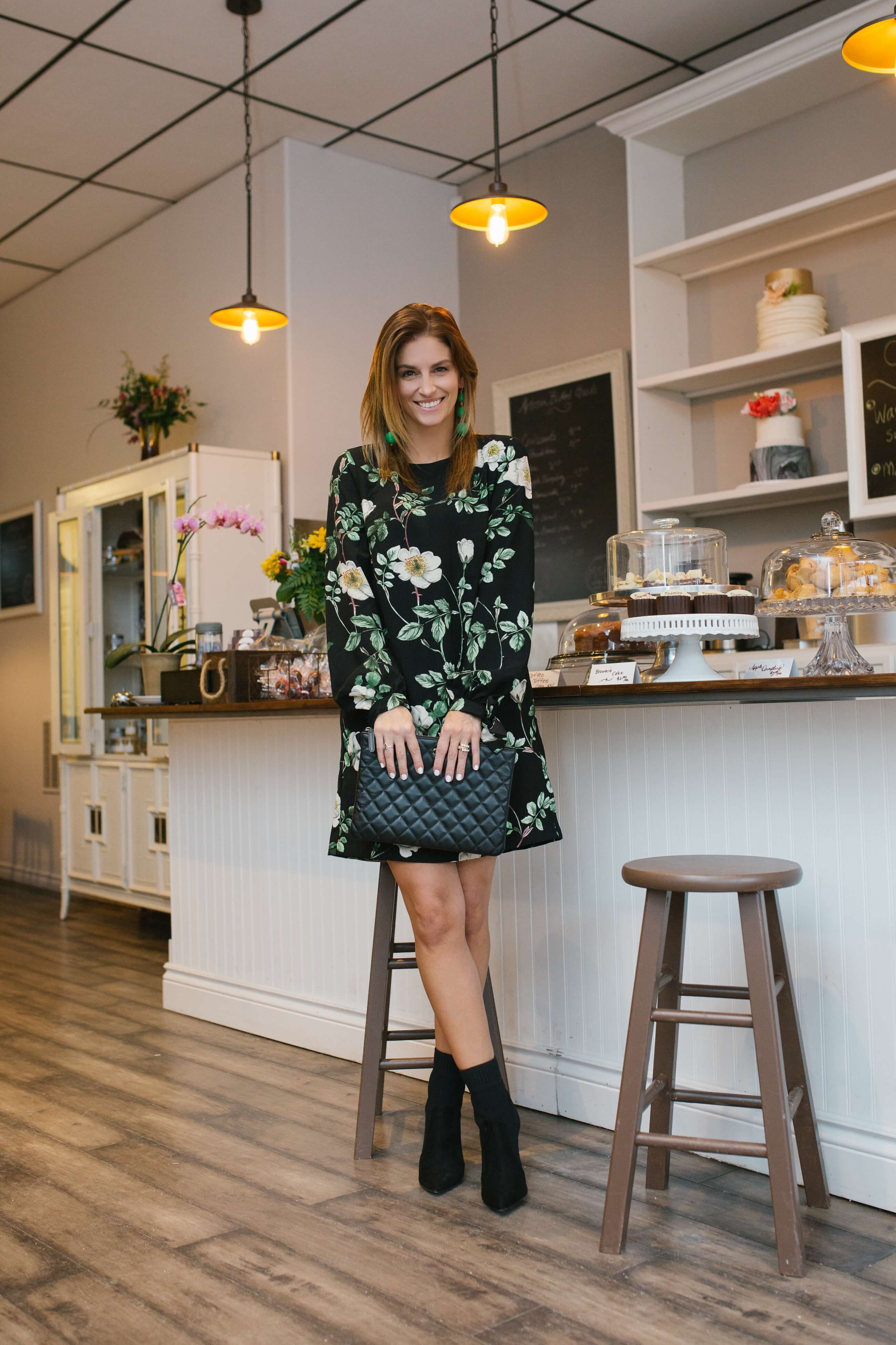 H&M Long sleeved floral dress, sock booties, quilted chanel clutch, green drop earrings; sparkleshinylove Mandy Furnis; M&R Cakes and Cafe