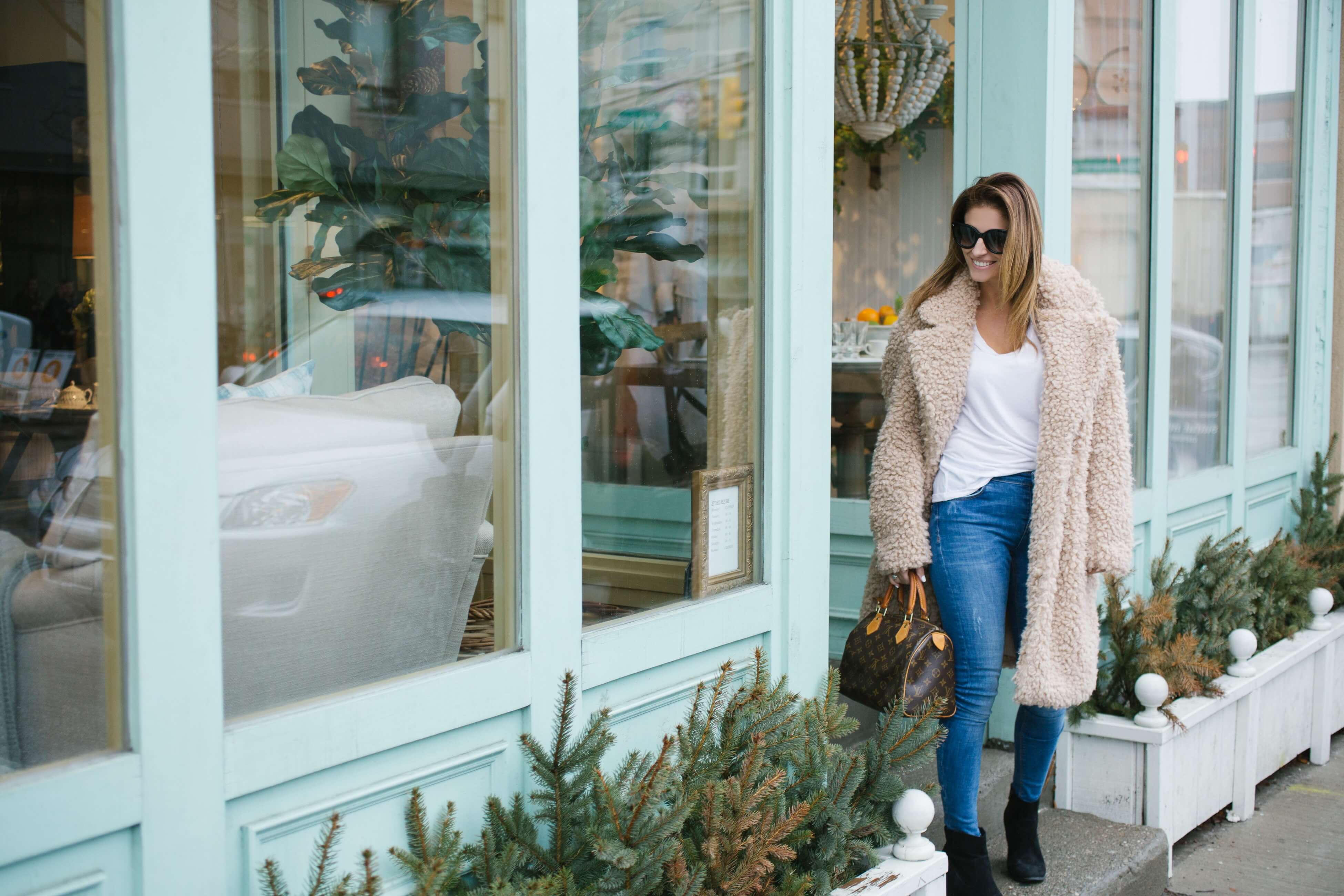 Spring style with teddy bear coat, jeans, t-shirt, and booties.  Louis Vuitton speedy - easy spring style sparkleshinylove Mandy Furnis