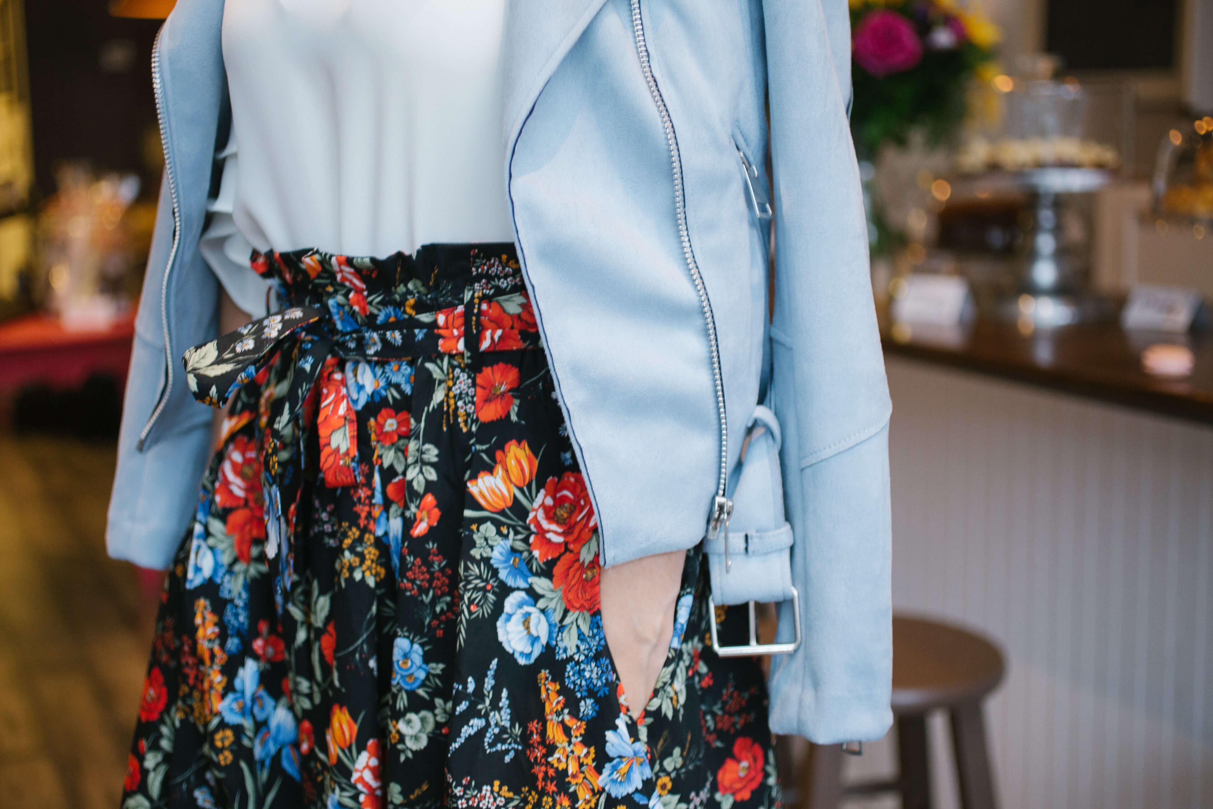 Pretty Easter outfit - H&M floral skirt, light blue suede moto jacket, Christian louboutin pumps and black suede gucci marmont bag, sparkleshinylove Mandy Furnis