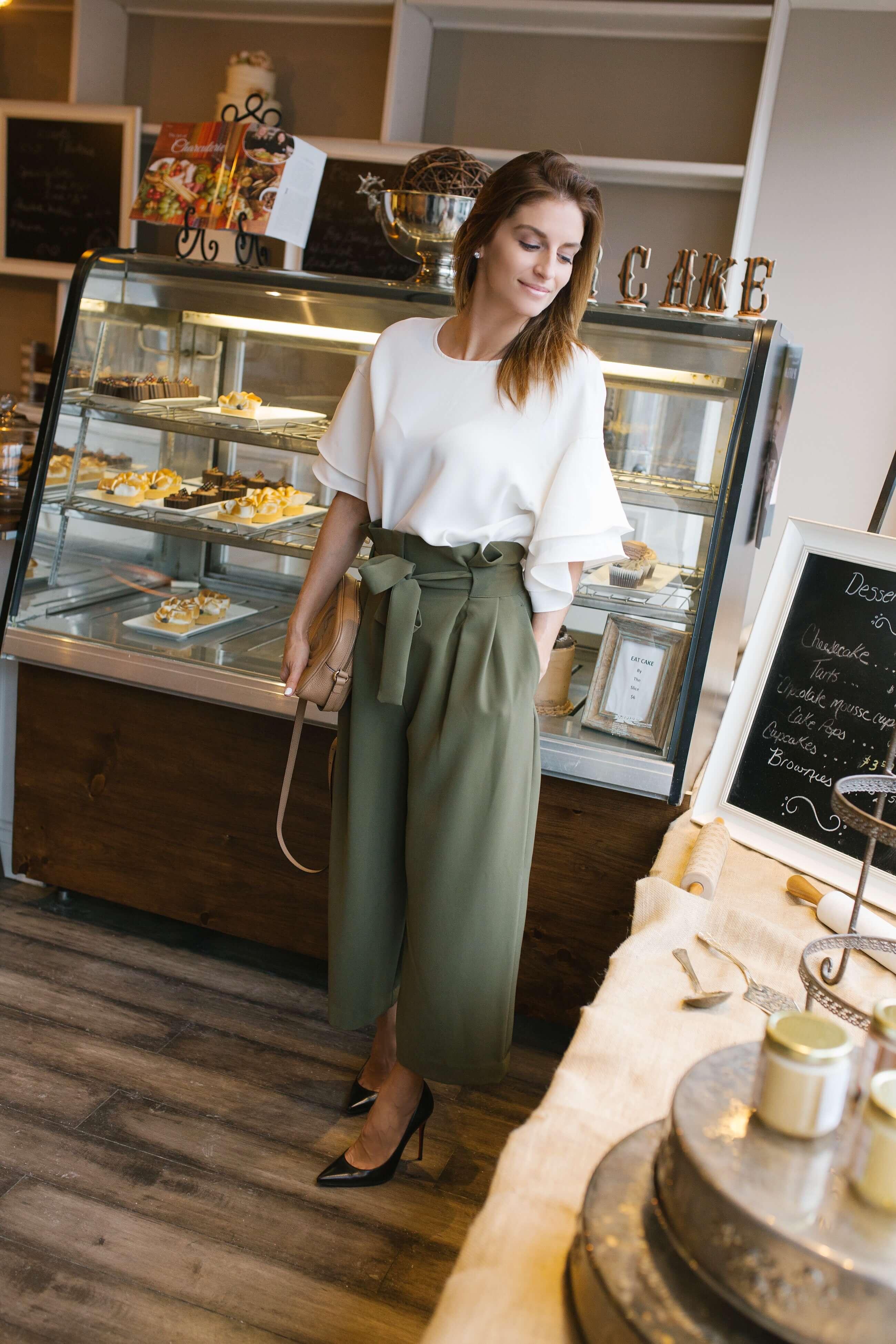 spring style ideas - green wide leg pants, white blouse, black christian louboutin pumps, gucci soho disco bag Mandy Furnis sparkleshinylove