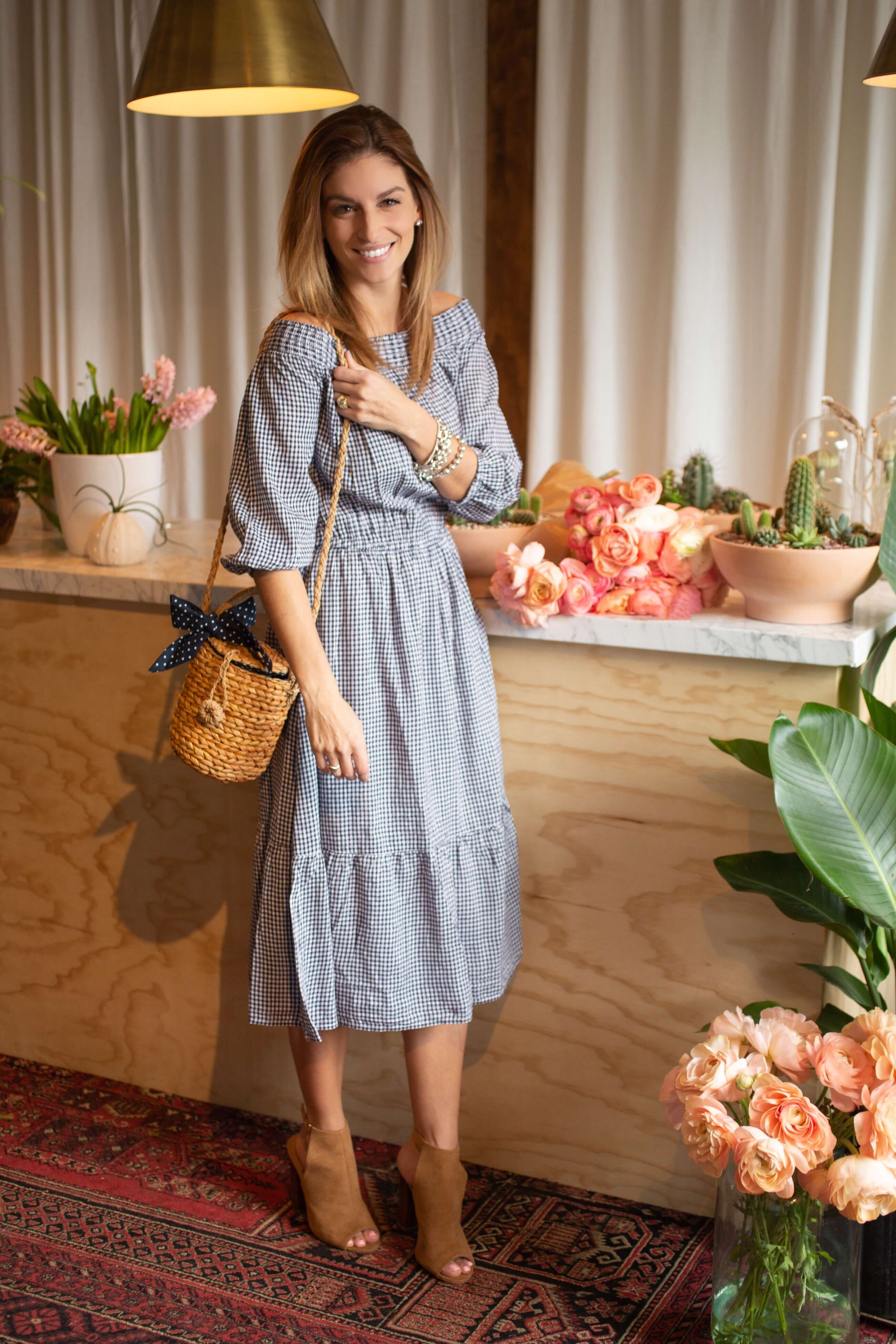 Gingham Maxi Dress Old Navy, Straw basket cross body, peep toe booties; mandy furnis sparkleshinylove; spring maxi dress