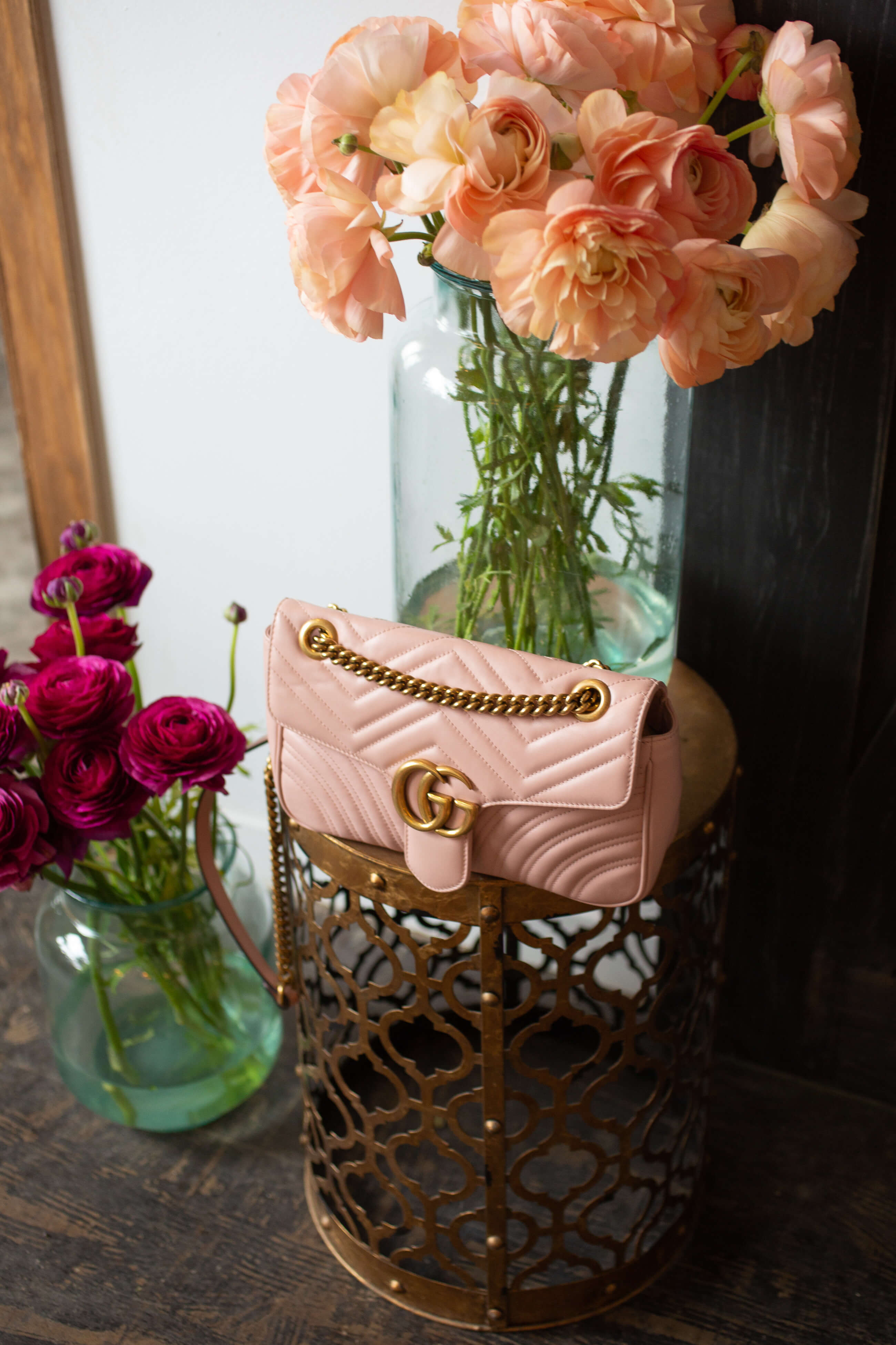 how to style a Pink Gucci Marmont bag