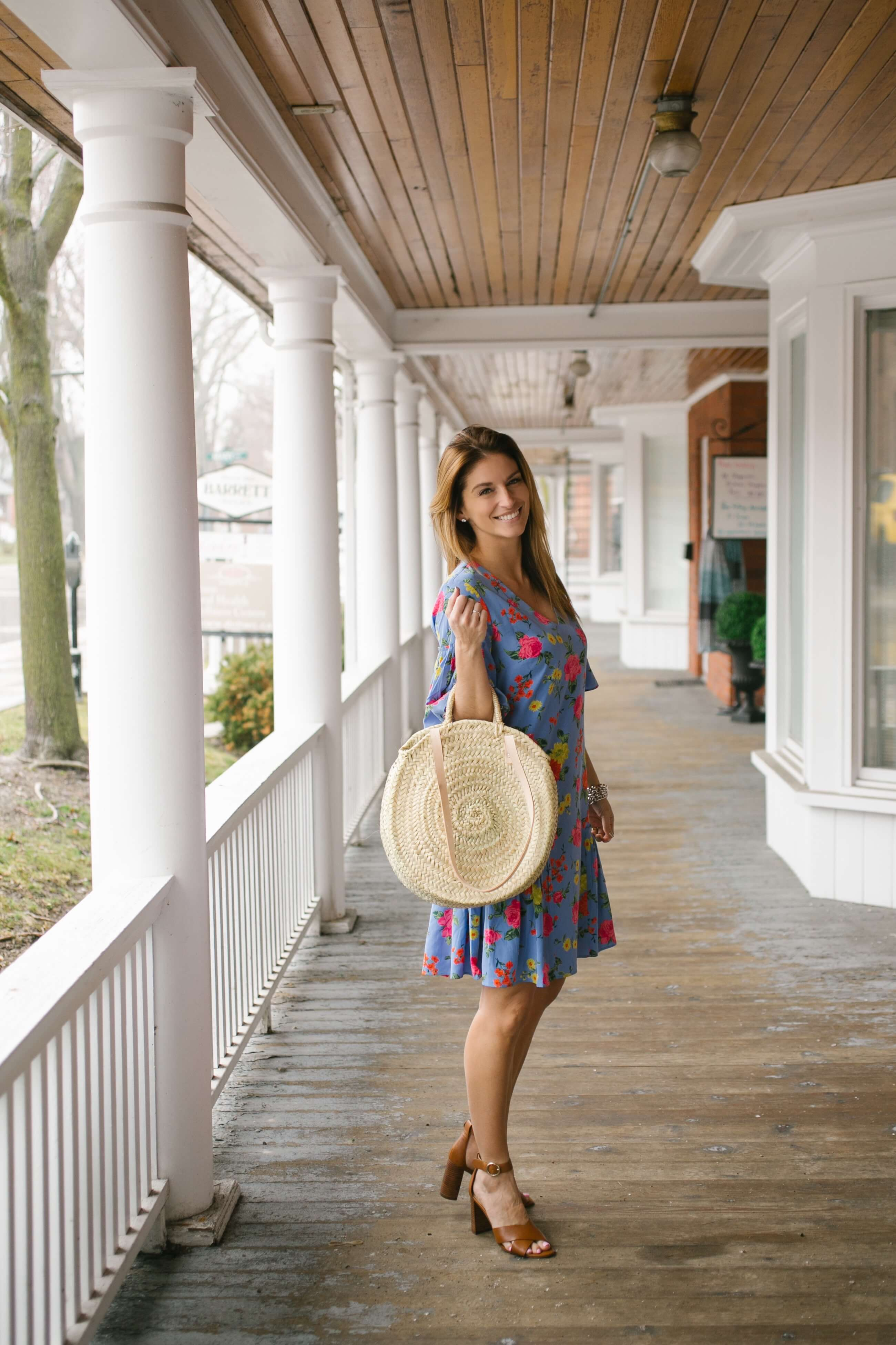 Ann Taylor Floral Flounce Shift Dress, Ann Taylor Liya Leather Block Heel Sandals, round straw bag; Ann Taylor Summer Style; Mandy Furnis sparkleshinylove