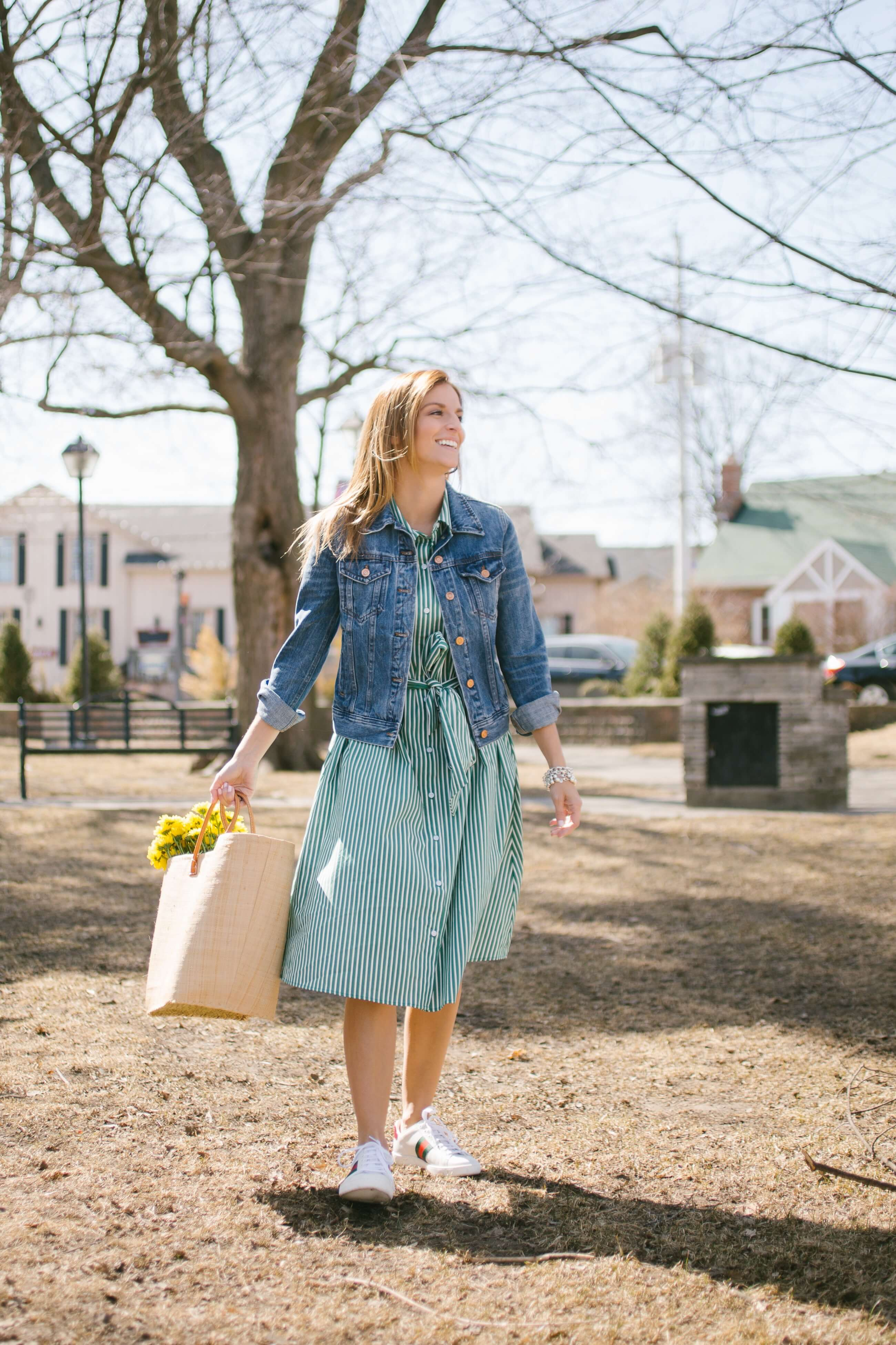 Pretty spring dresses!  Green and white striped collared dress, market bag, flowers, J.Crew jean jacket and gucci sneakers; mandy furnis sparkleshinylove