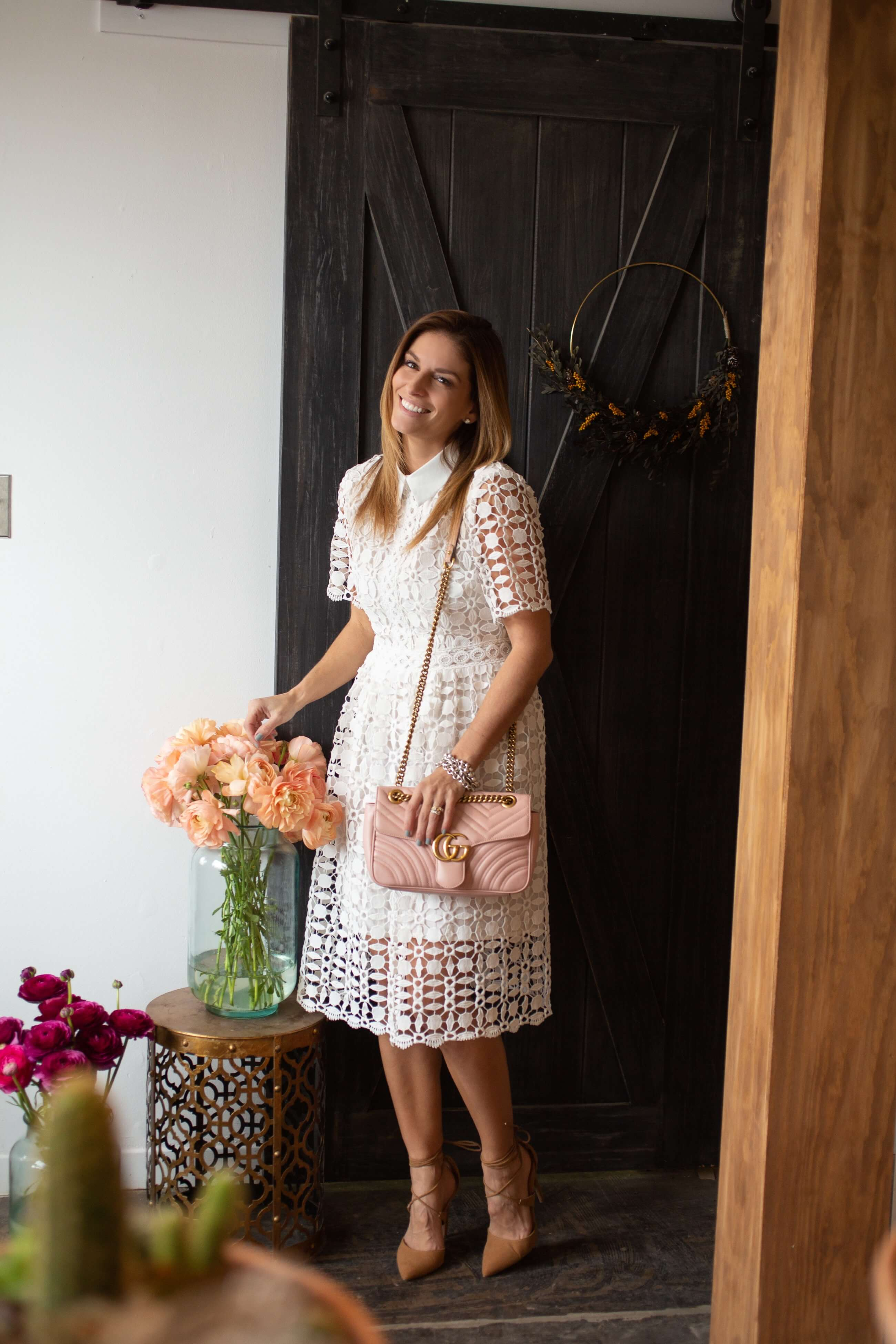 Pretty spring dress; Chicwish splendid crochet white dress, lace up nude heels, pink Gucci Marmont bag; Mandy Furnis sparkleshinylove; whitby blogger