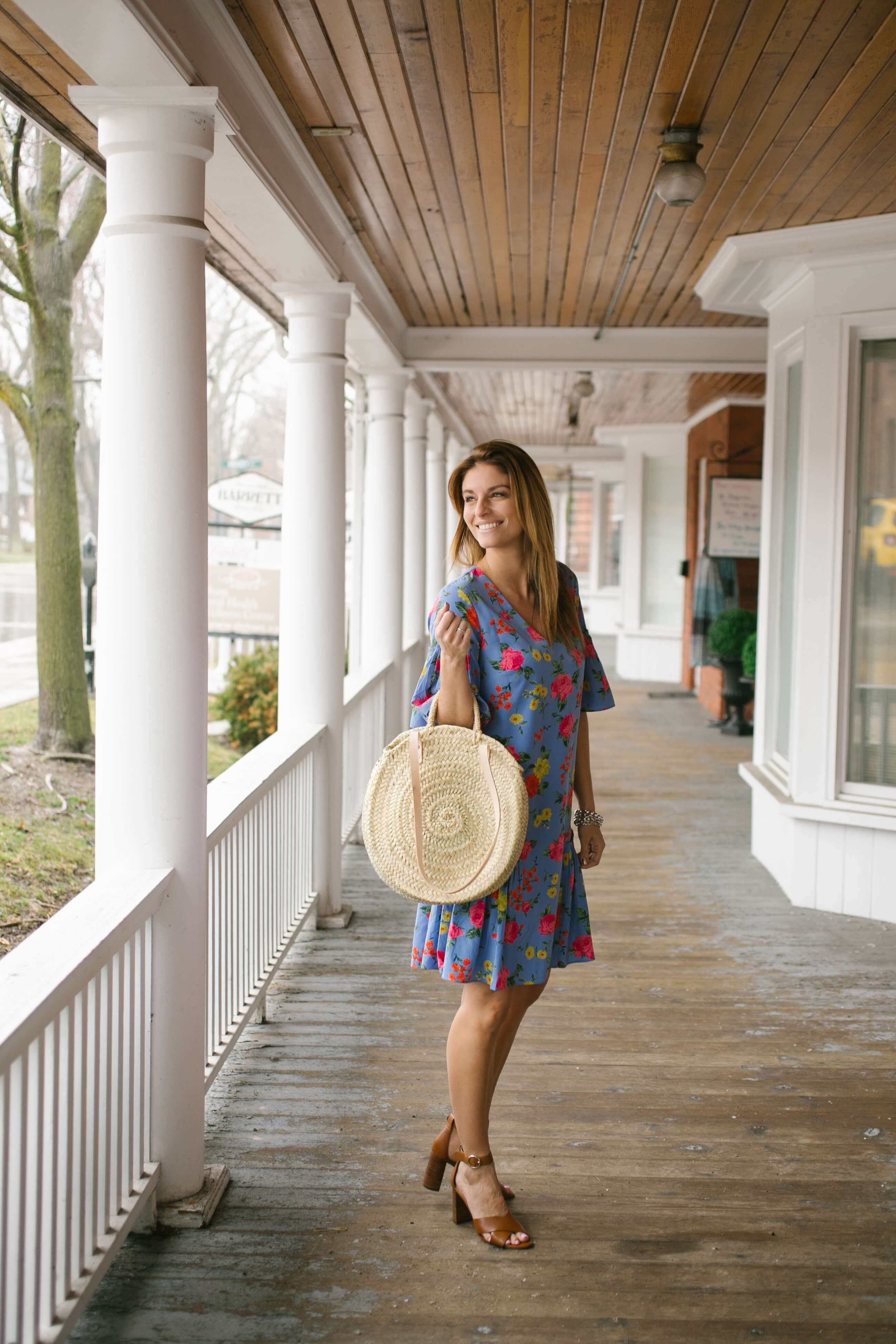 Ann Taylor Floral Flounce Shift Dress, Ann Taylor Liya Leather Block Heel Sandals, round straw bag; Ann Taylor Summer Style; Mandy Furnis sparkleshinylove