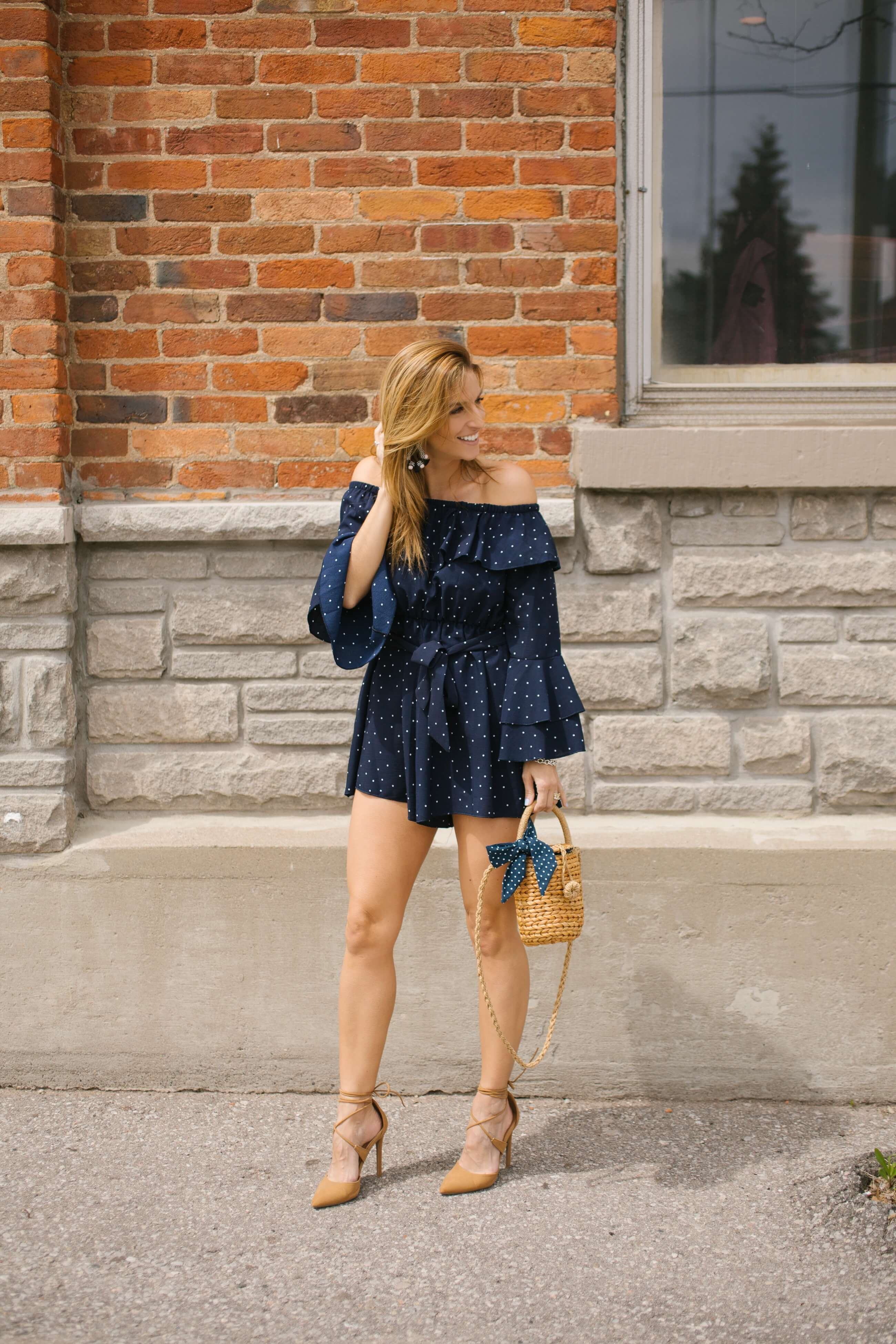 polkadot romper; basket bag, lace up nude heels, statement earrings from Baublebar; mandy furnis sparkleshinylove; summer romper