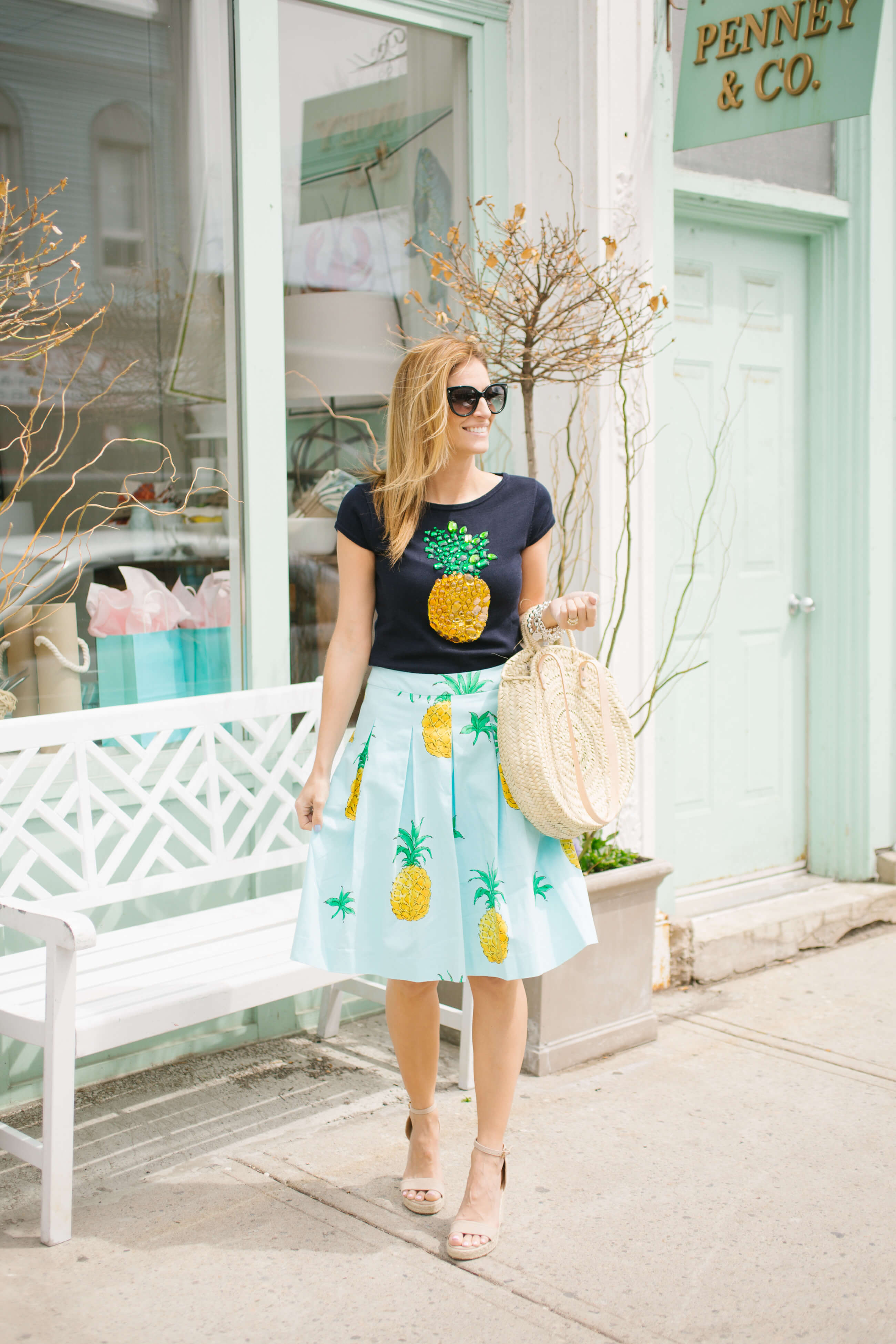 the cutest pineapple look ever!  Pineapple print blue midi skirt, pineapple t-shirt, espadrilles, and round straw bag; Mandy Furnis sparkleshinylove