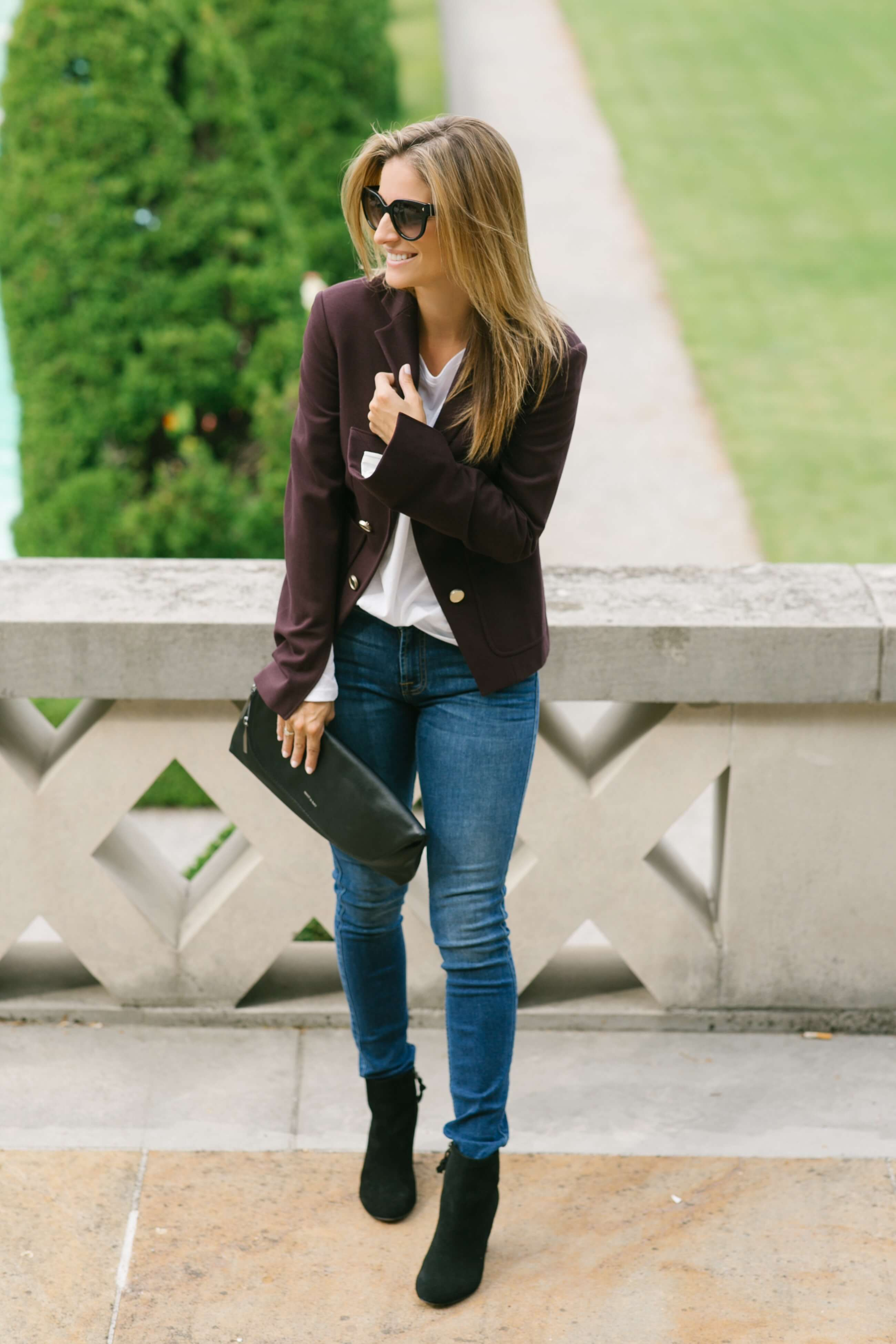 Falls basics - Theory military blazer, skinny jeans, black booties, Saks OFF 5TH, sparkleshinylove Mandy Furnis