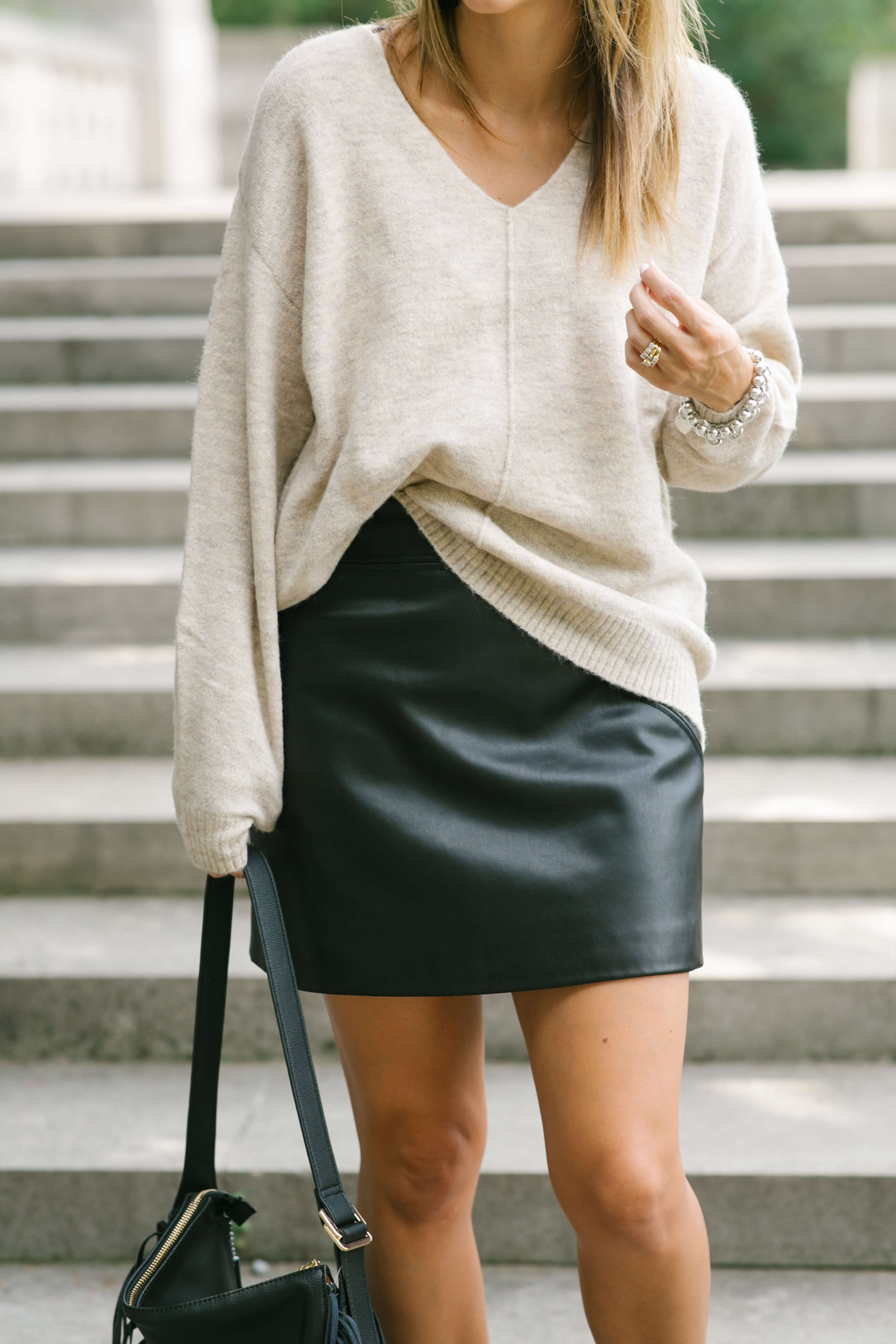 Fall style with H&M; oversized sweater with leather skirt and booties; sparkleshinylove mandy furnis