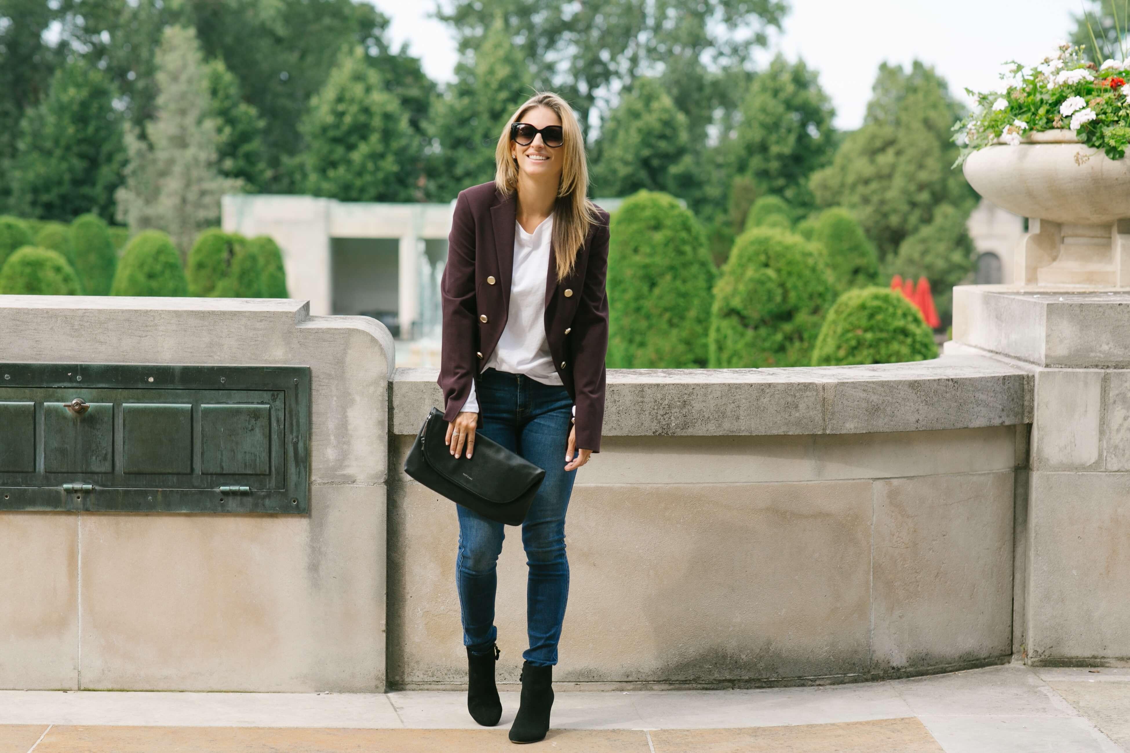 Falls basics - Theory military blazer, skinny jeans, black booties, Saks OFF 5TH, sparkleshinylove Mandy Furnis