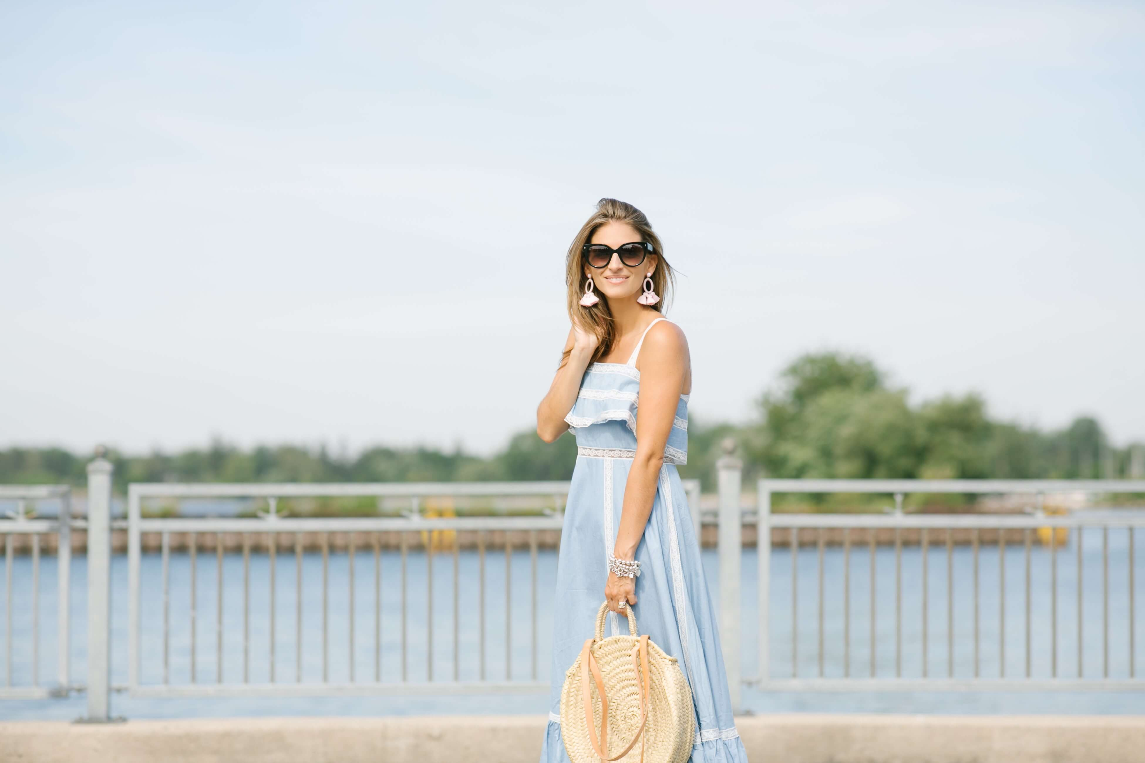 Summer wedding outfit ideas - ruffle maxi dress, round straw bag and espadrilles Mandy Furnis sparkleshinylove