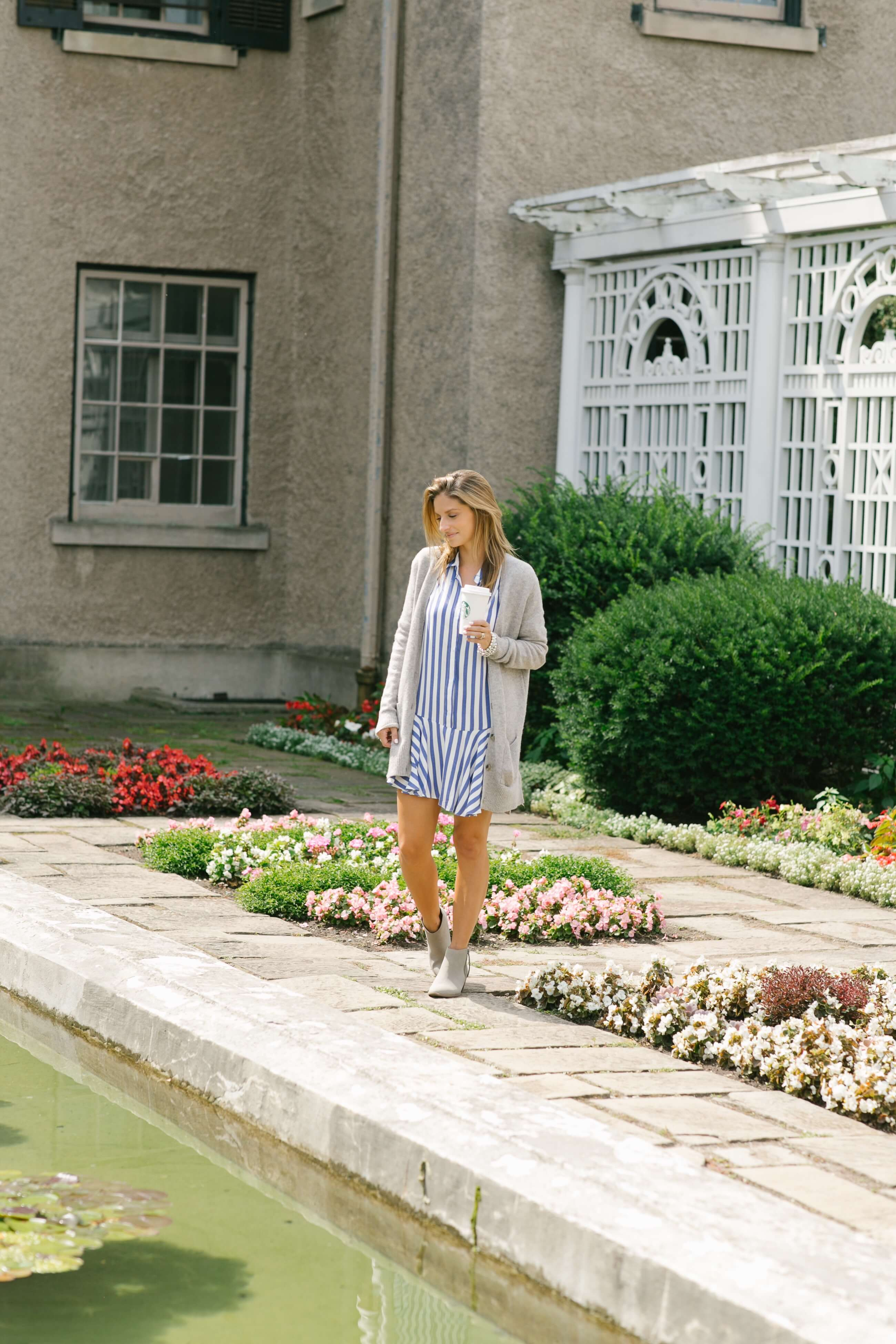Fall striped dress, cardigan from Old Navy, grey booties; how to style a dress in fall; Mandy Furnis sparkleshinylove; whitby blogger