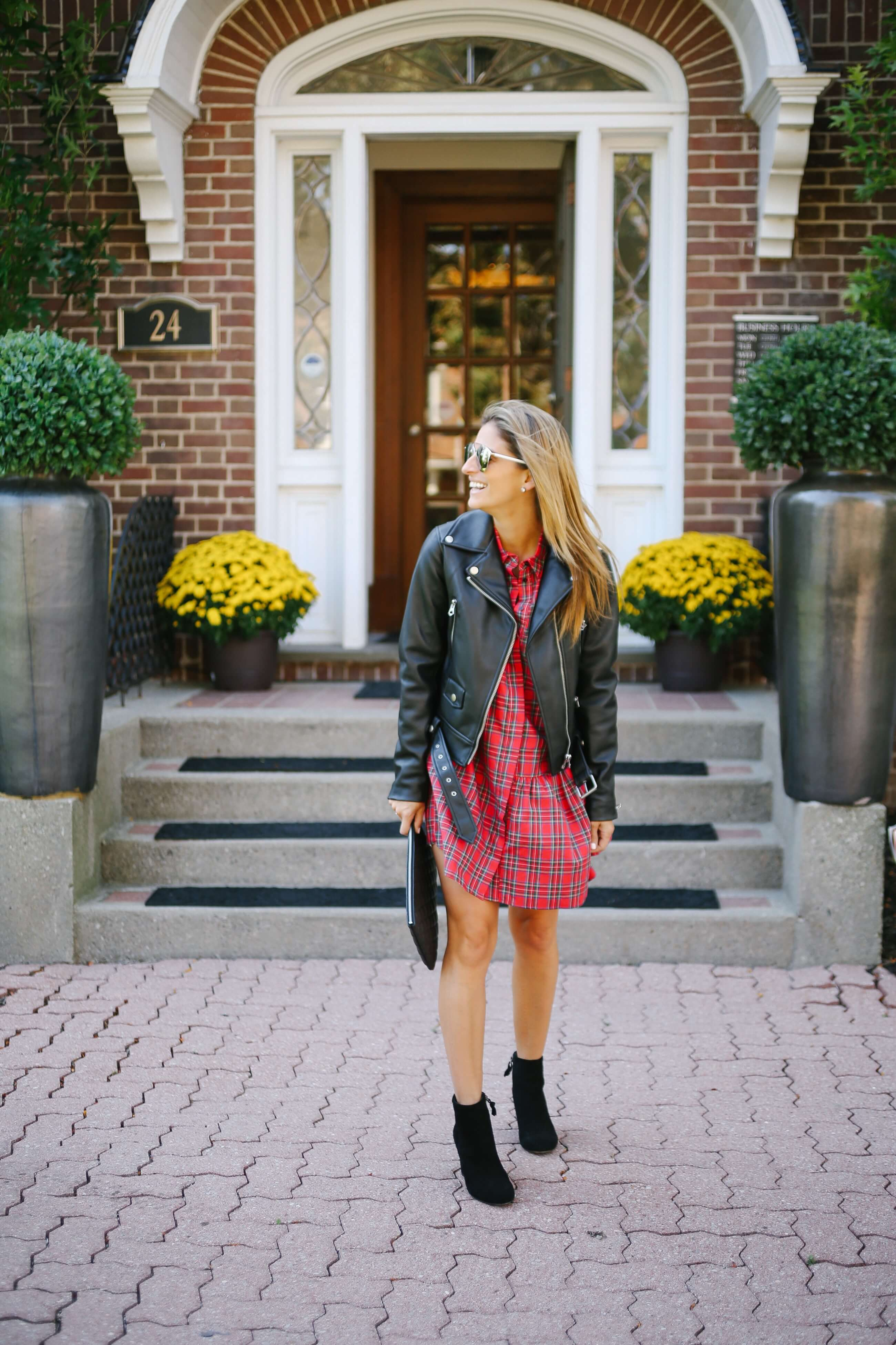 Favourite fall outfit!  Plaid dress, leather moto jacket, black booties, chanel quilted clutch; whitby blogger sparkleshinylove