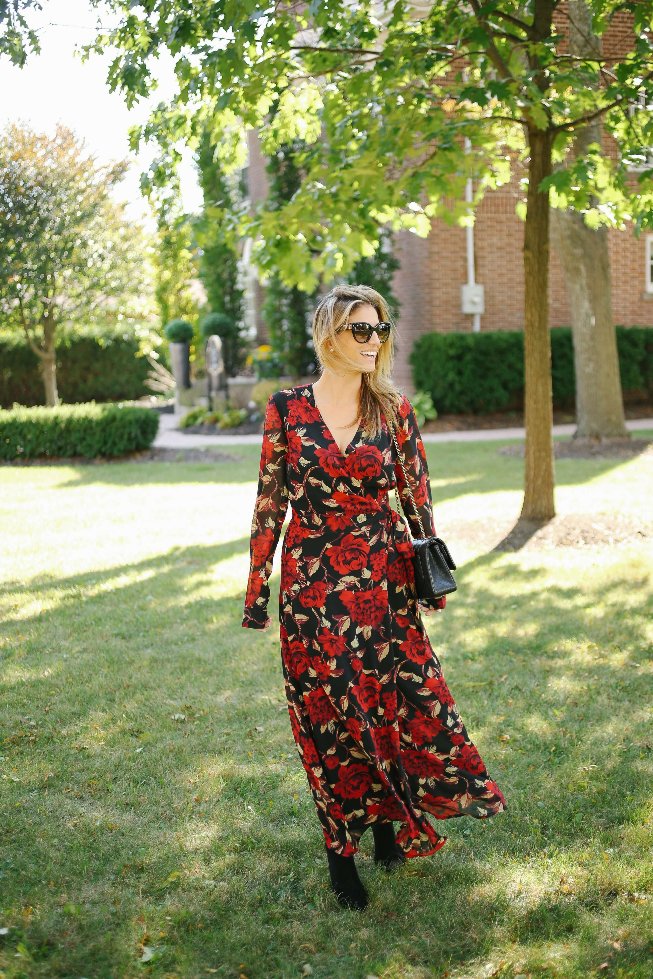 Beautful fall maxi dress from Suzy Shier paired with black pointed toe booties and a Chanel classic flap bag; whitby blogger Mandy Furnis sparkelshinylove