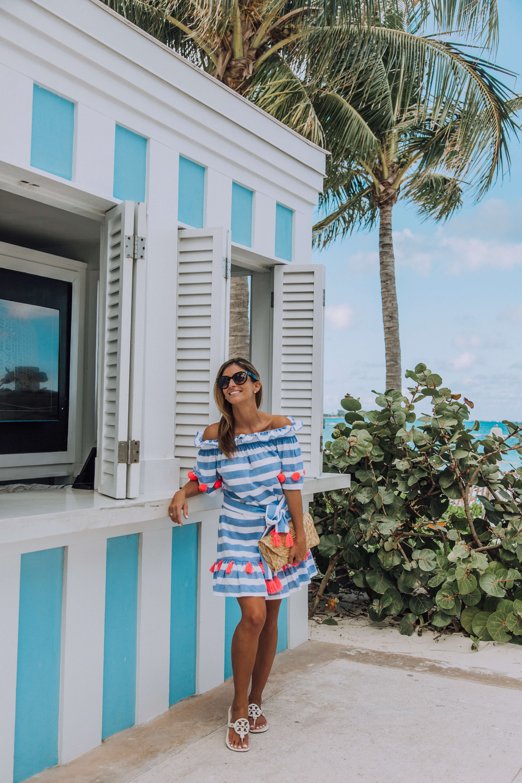 shopbop SUNDRESS Lily Striped Dress Coral Stripe; vacation style; sparkleshinylove; vacation looks; mandy furnis; bahamas baha mar