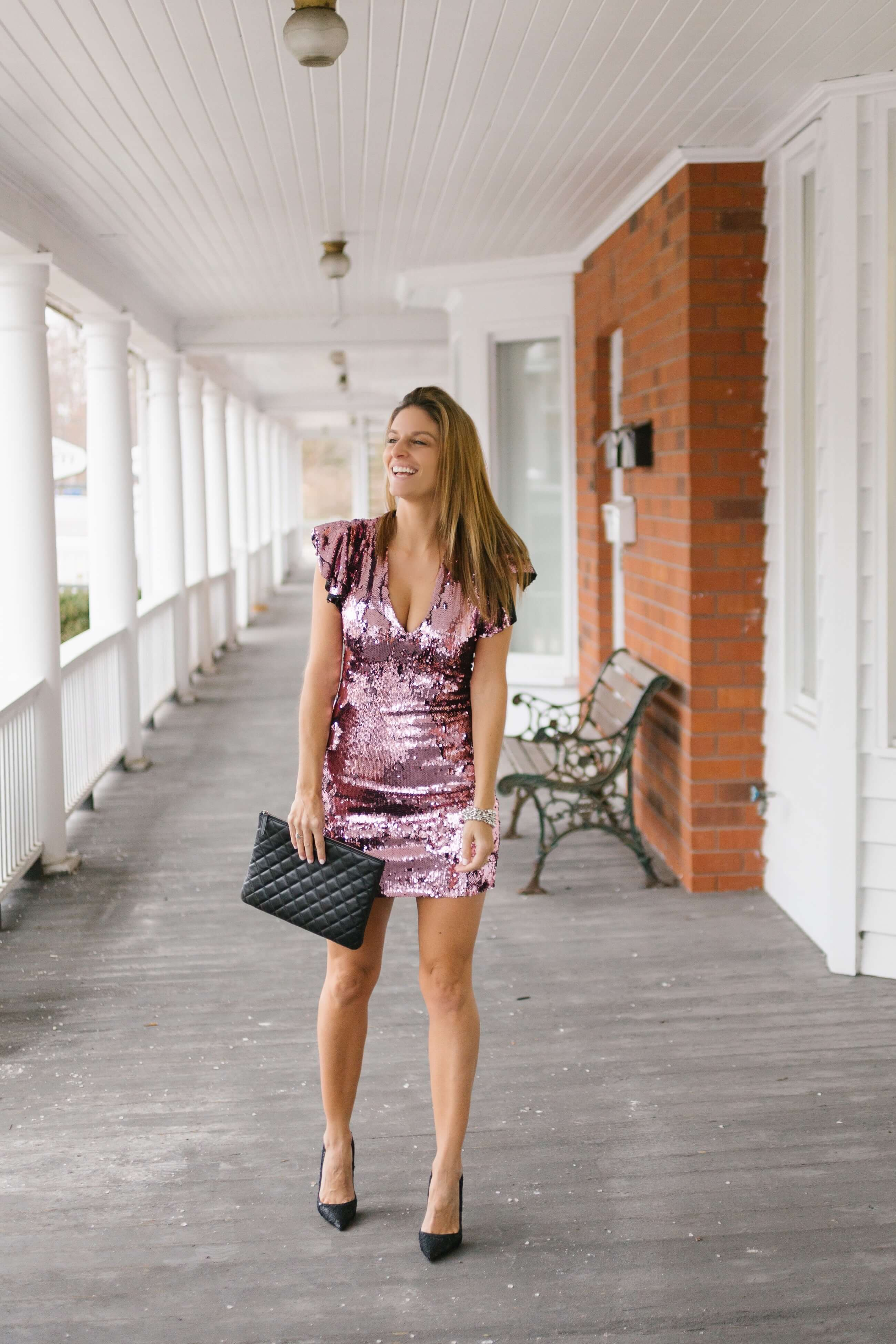 New Years Eve look; pink sequin dress; what to wear on new years eve; sparkleshinylove