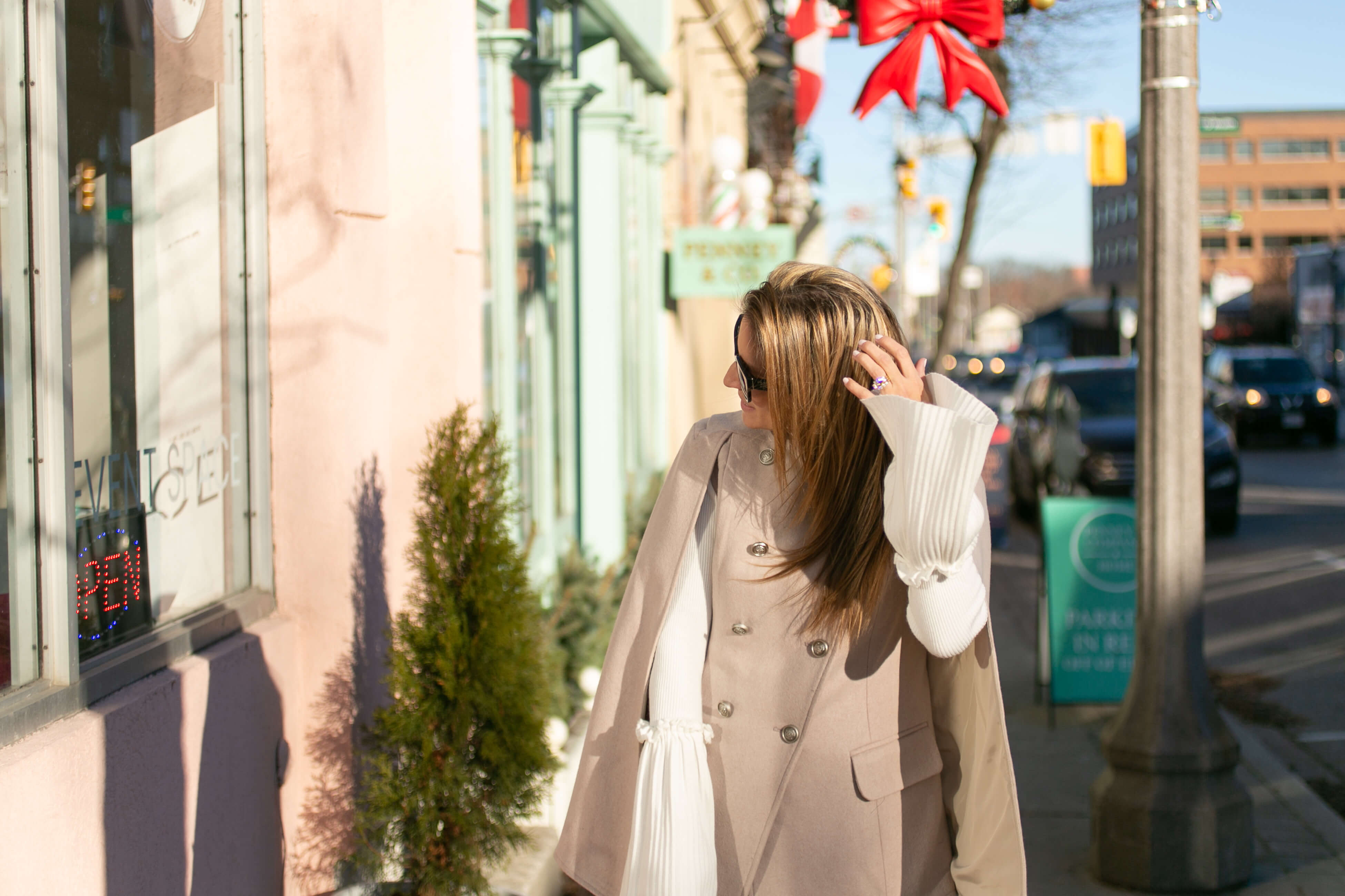 Chicwish Royal Elegance Double-Breasted Cape Coat in Cream; sparkleshinylove Mandy Furnis; cape coat