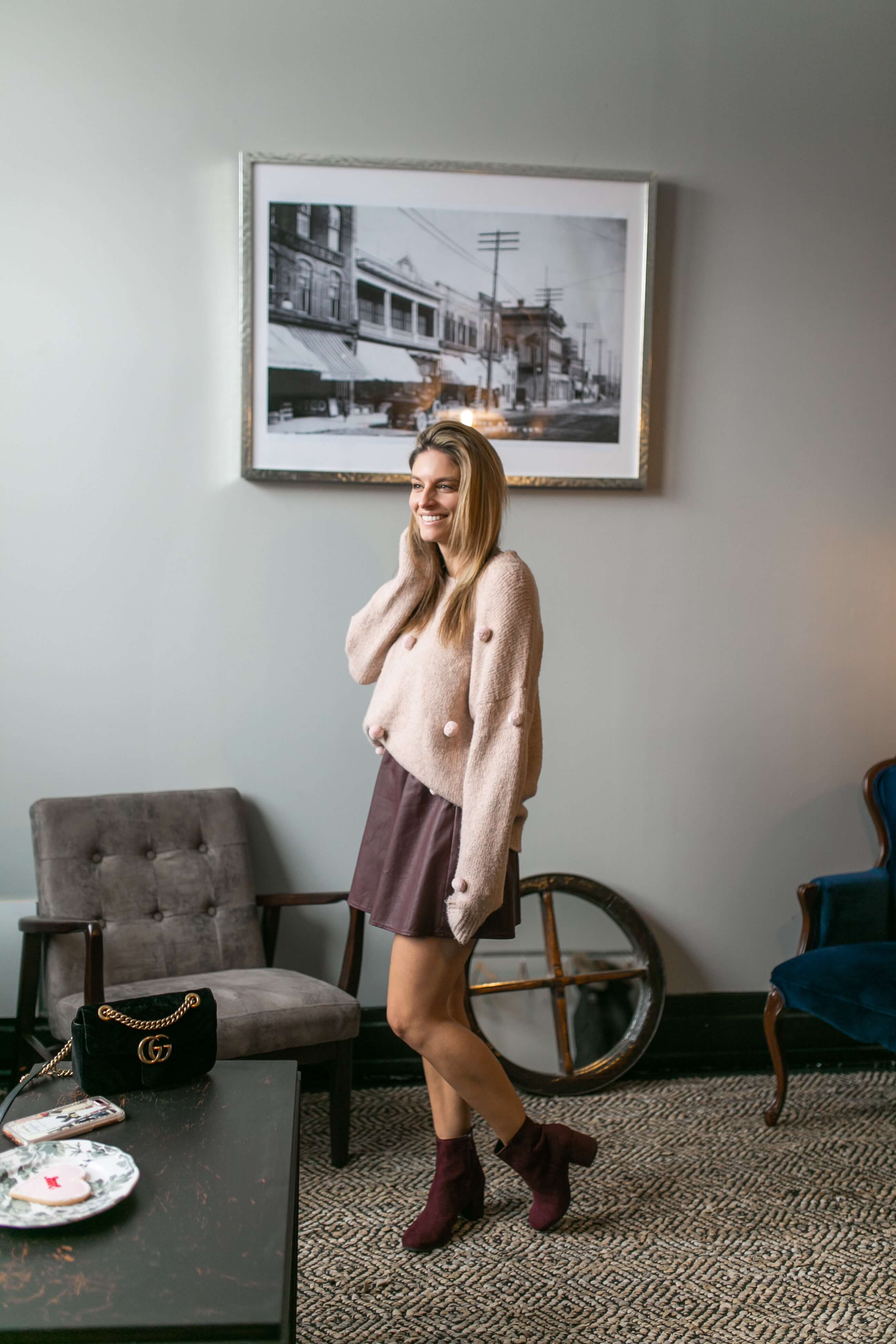 pom pom Chicwish sweater, leather skirt, plum suede boots; winter style; Brock St. Espresso