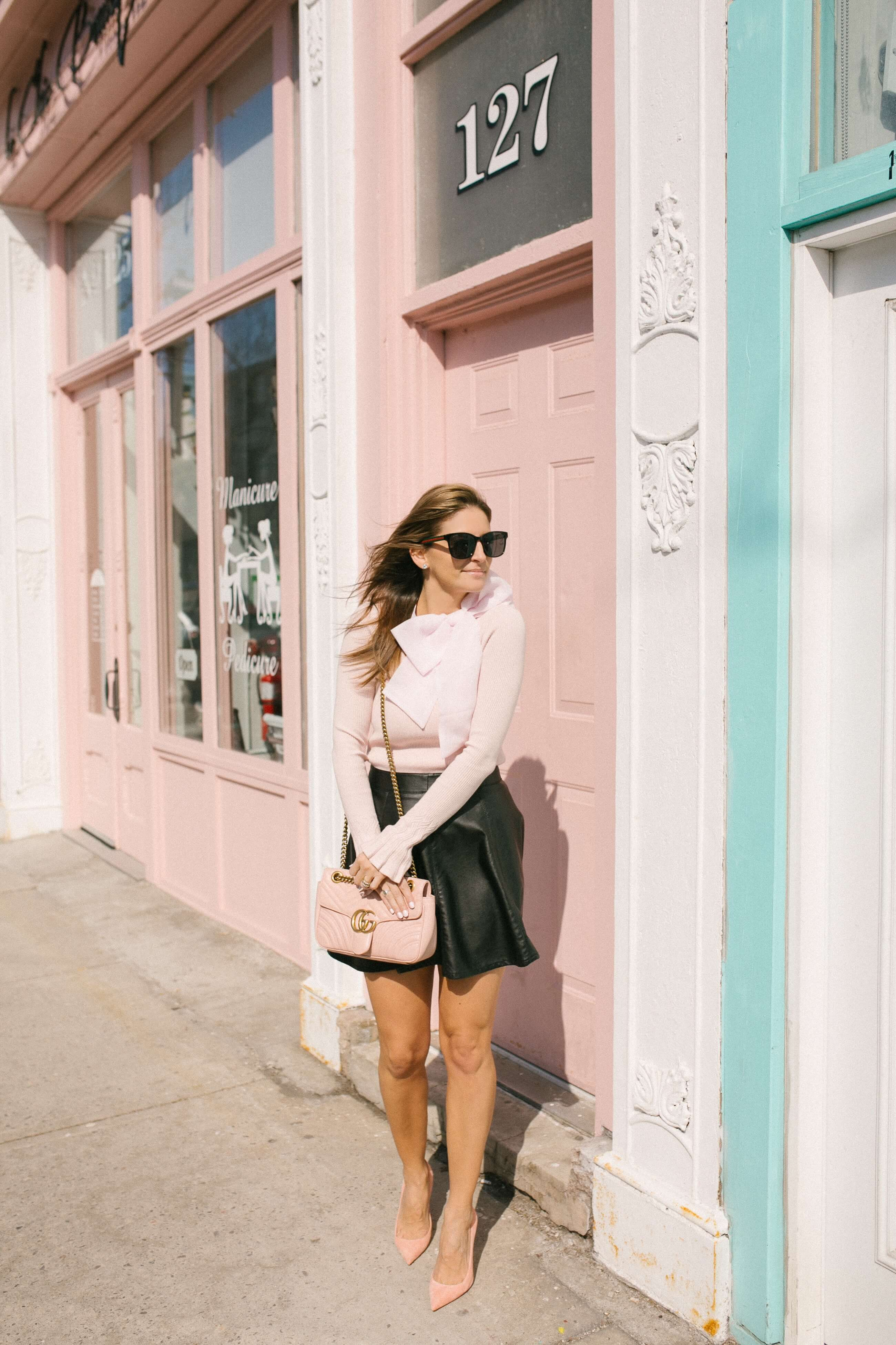 Pink Bow top with leather skirt; mandy furnis whitby blogger sparkleshinylove