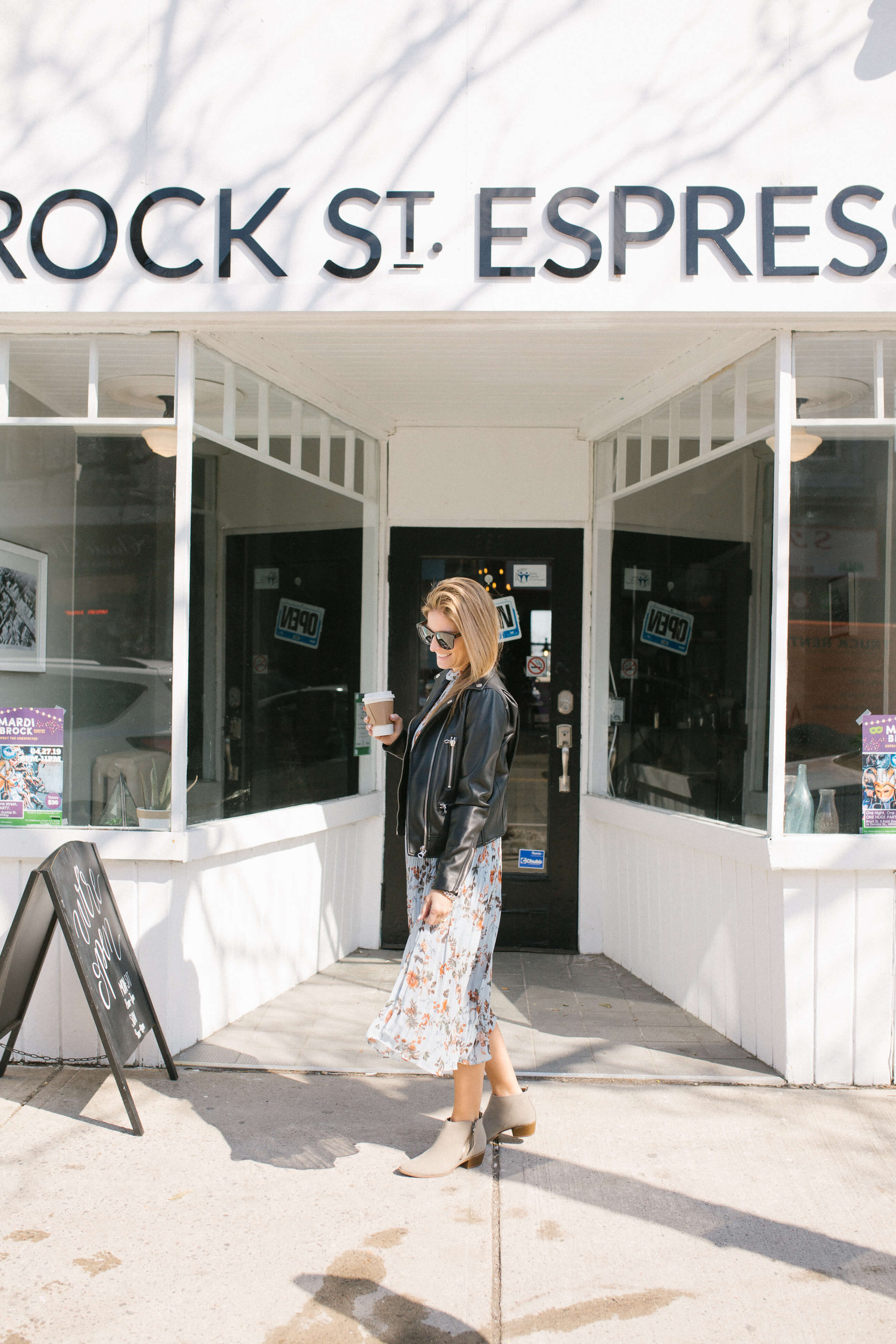 Floral maxi dress with a leather jacket; gucci sunglasses; Brock Street Espresso; mandy furnis sparkleshinylove; whitby blogger