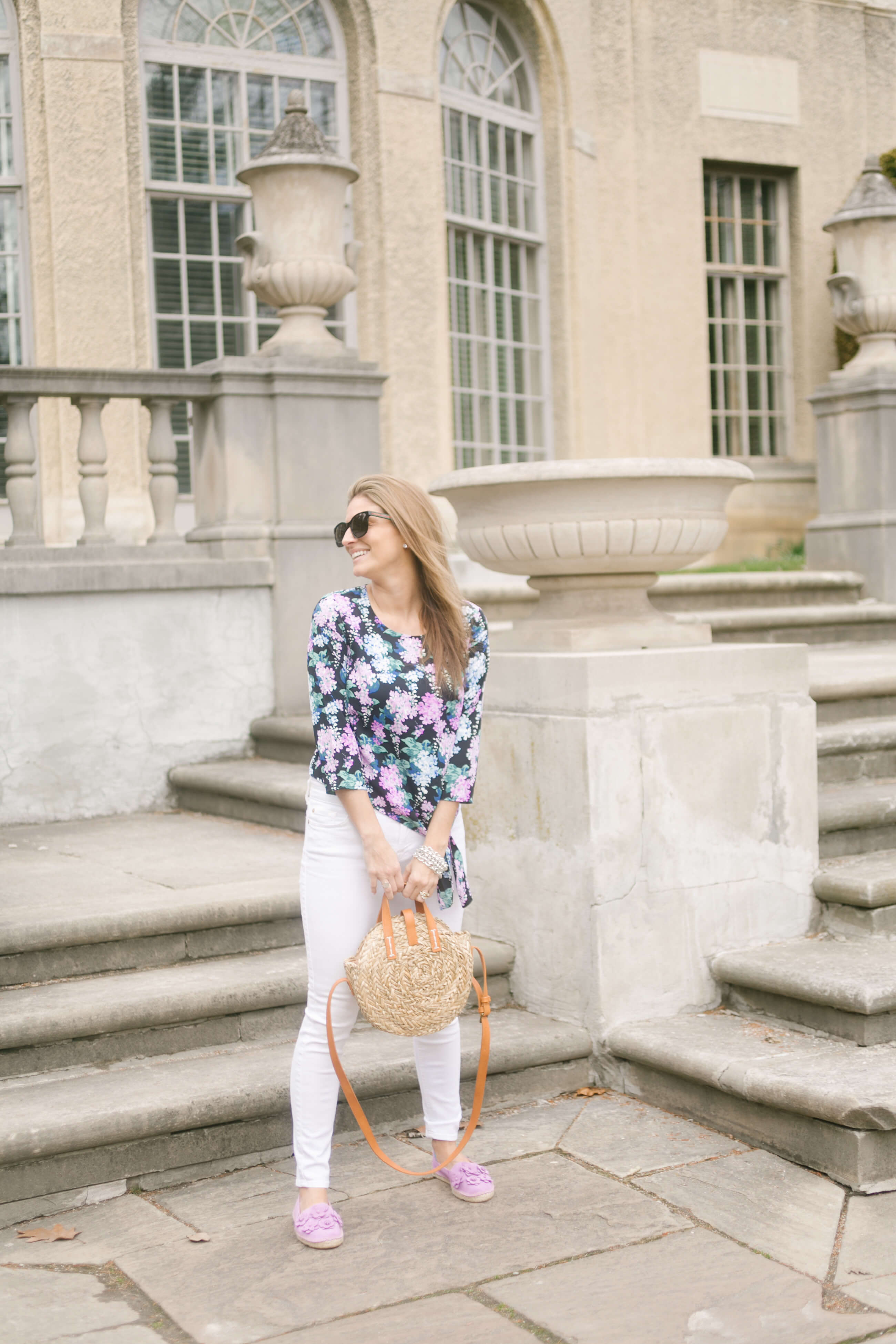 Floral knot top from Talbots; spring style with Talbots; talbots espadrilles; mandy furnis sparkleshinylove