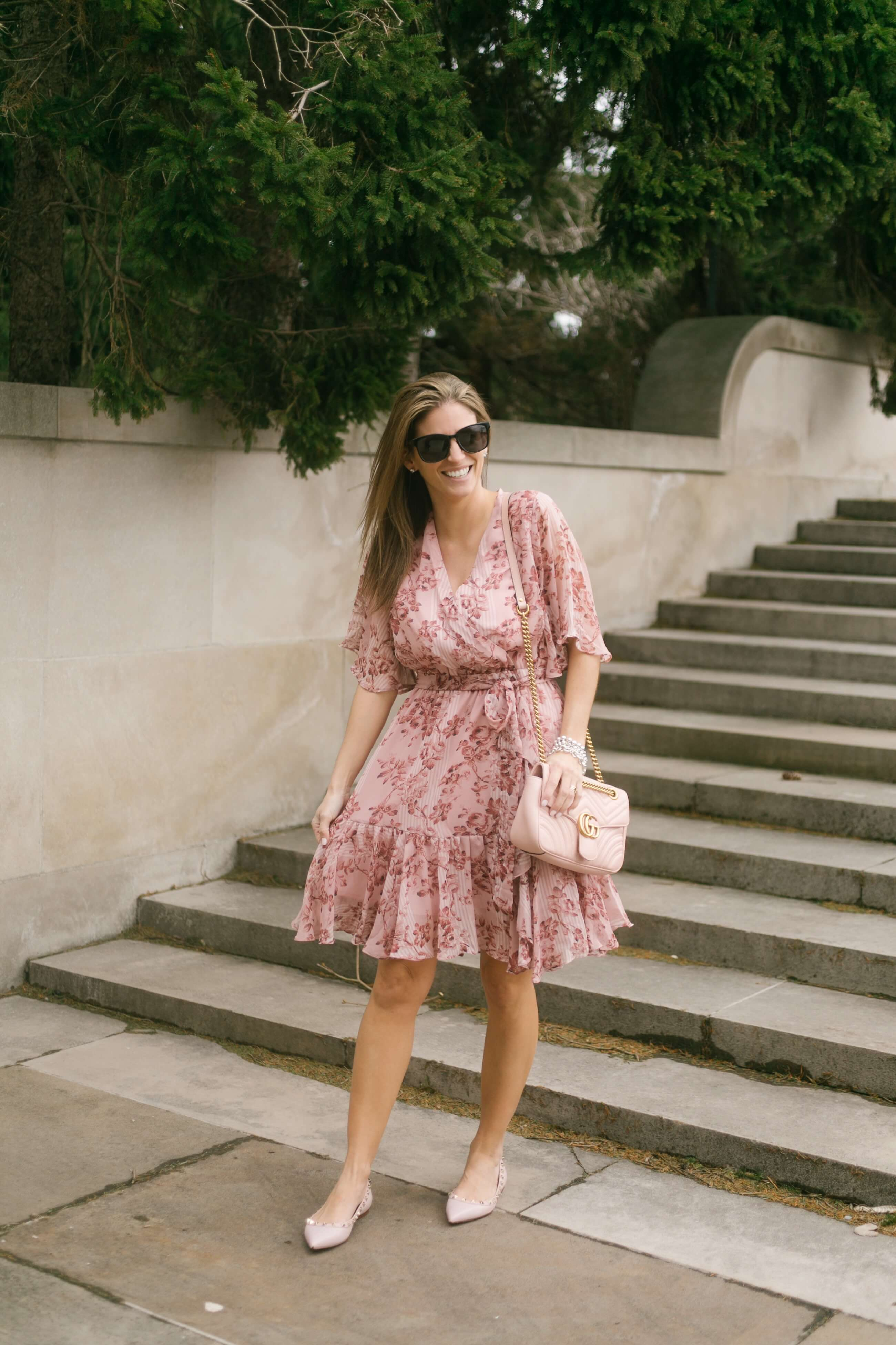 Chicwish Bomb of Love Floral Chiffon Dress in Pink; pretty pink summer dresses; pink gucci bag; pink valentino rock studs; sparkleshinylove whitby blogger mandy furnis