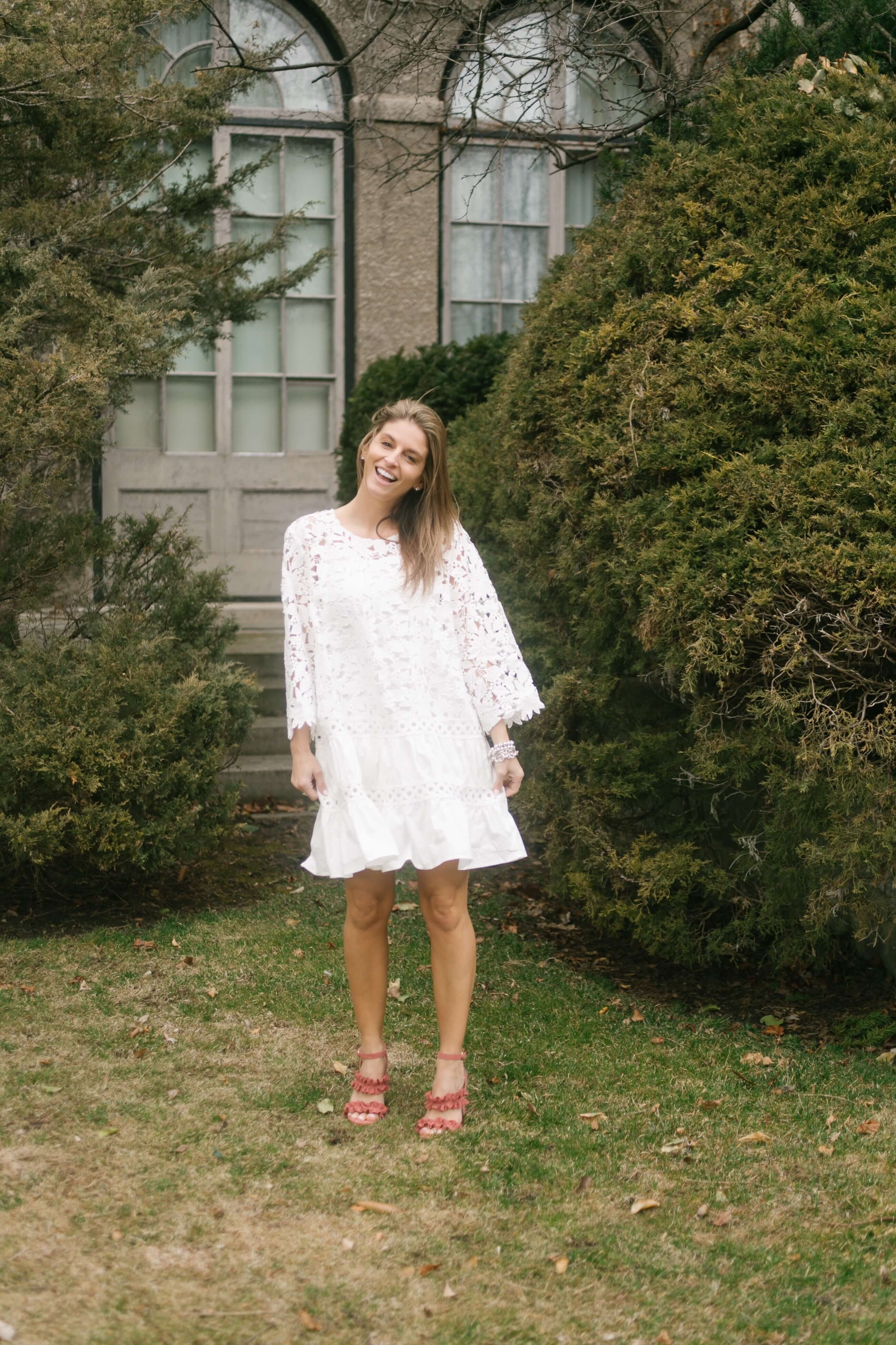 Chicwish Chicwish Flare to Dream Crochet Dress in White; ruffle shoes; white lace dress sparkleshinylove