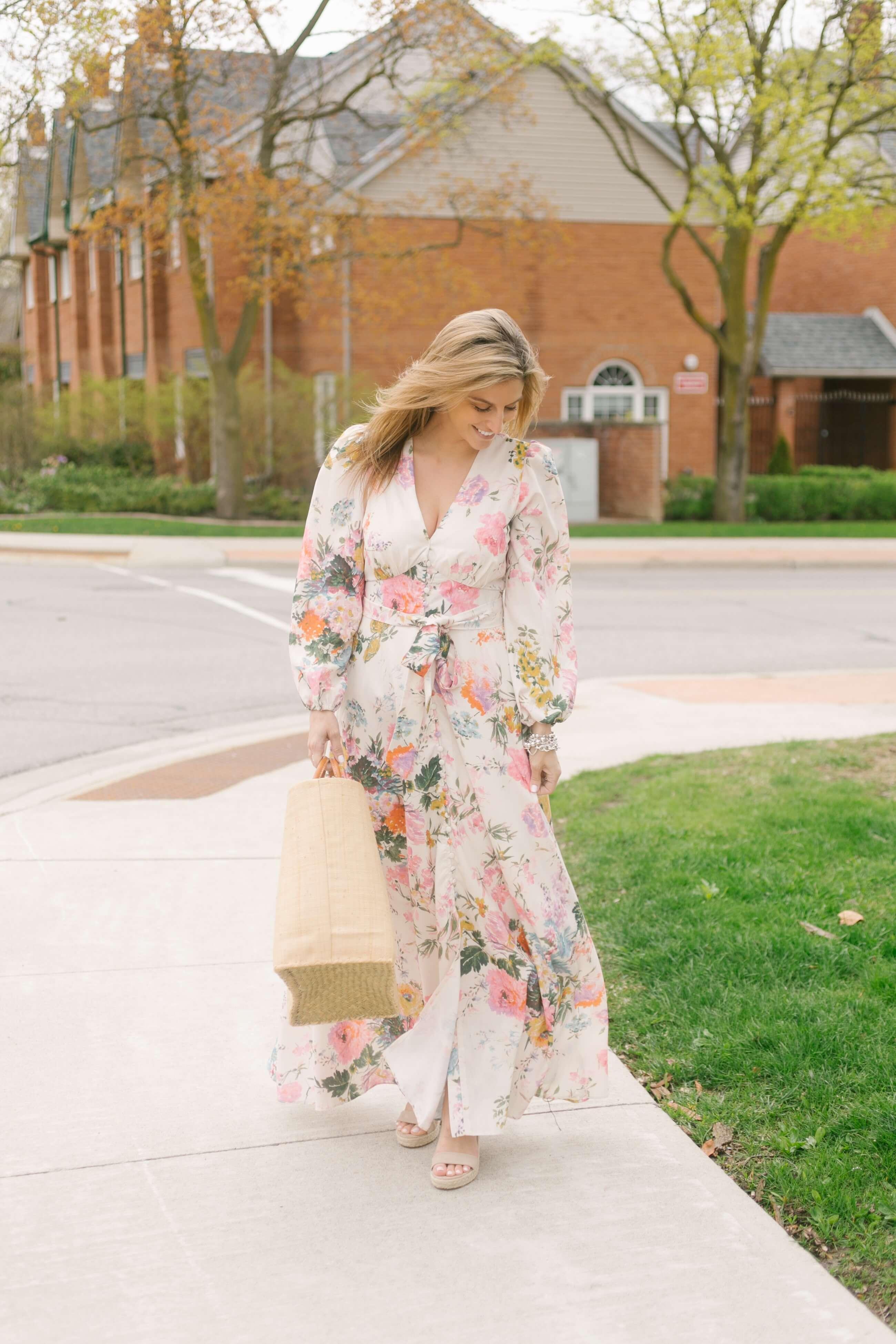 long floral dress for summer shower; baby shower dress; bridal shower dress; floral maxi dress; mandy furnis sparkleshinylove