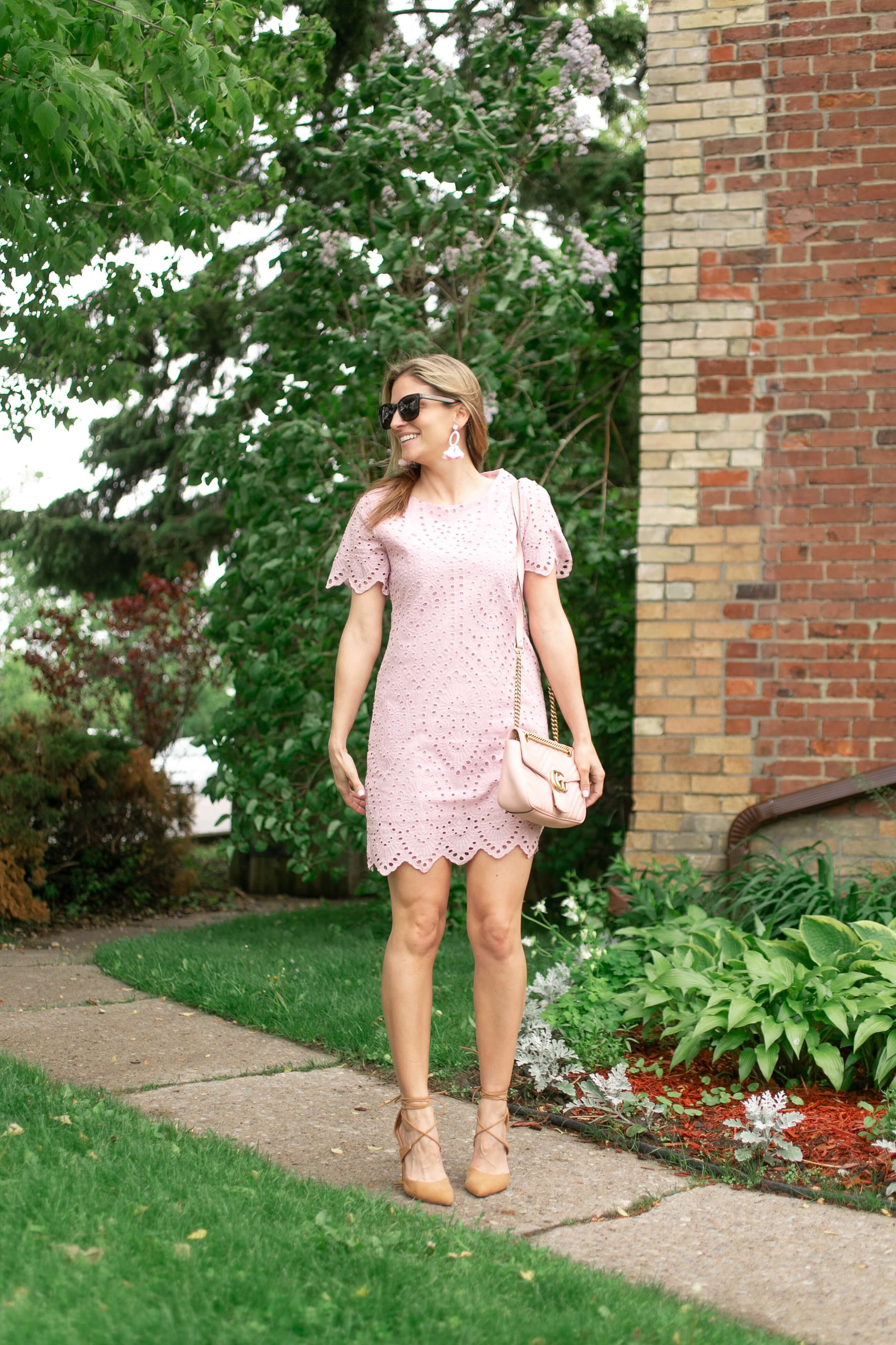 chicwish Slow Down Embroidered Eyelet Shift Dress in Pink; pink summer dress perfect for a wedding; mandy furnis sparkleshinylove