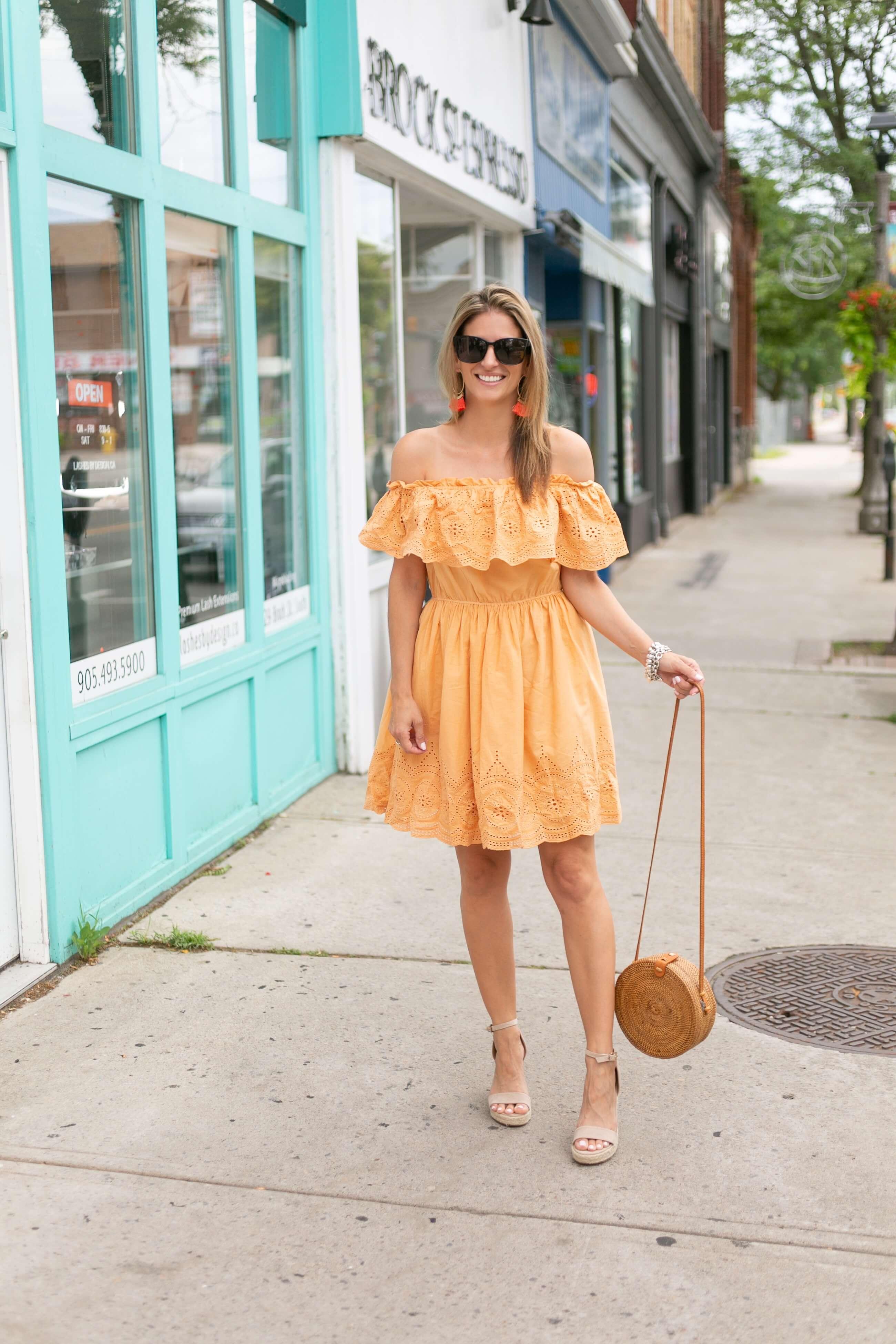 orange off the shoulder dress; summer style, chicwish off the shoulder dress; mandy furnis sparkleshinylove