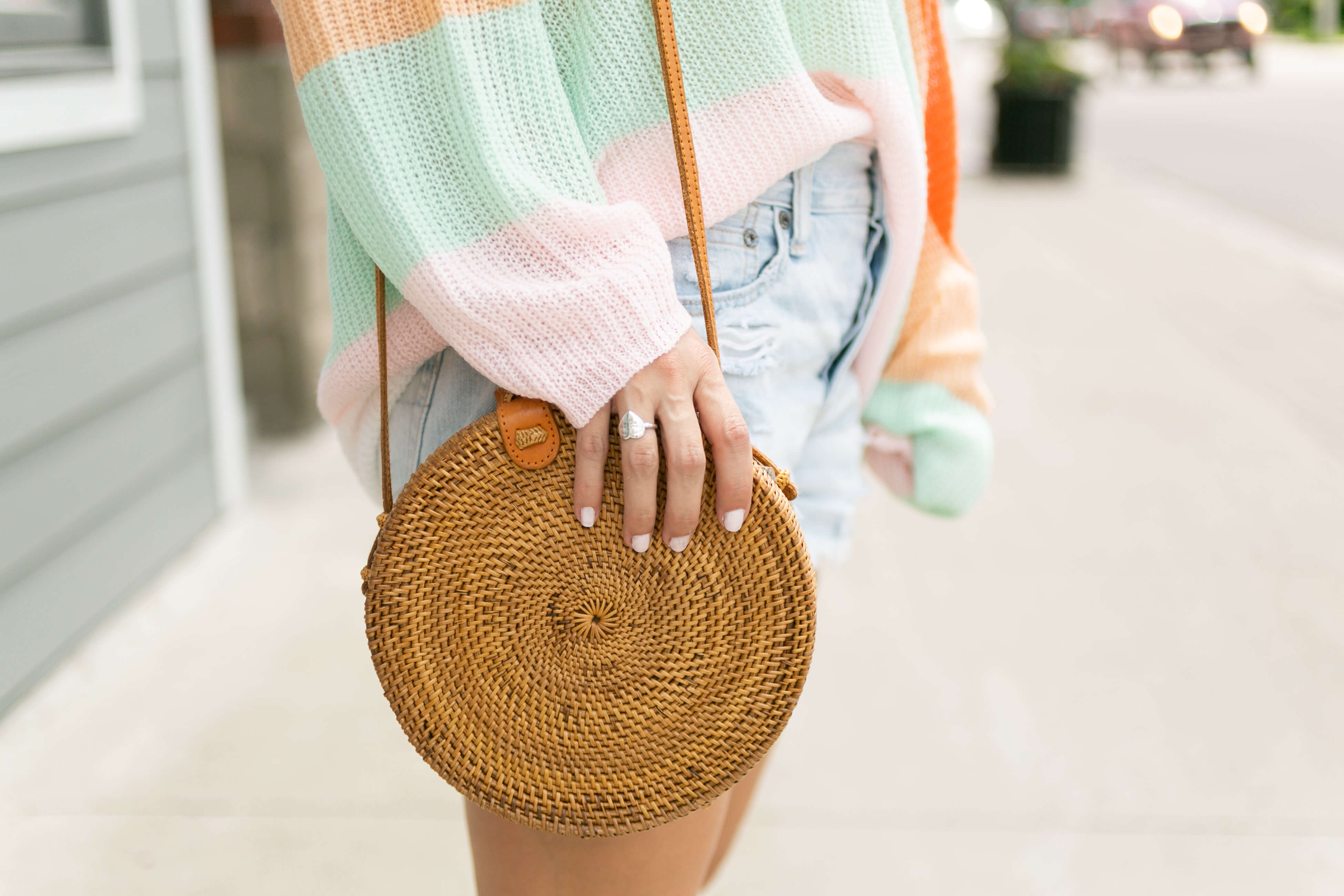 Summer sweater; urban outfitters striped sweater; tory burch miller sandals; round straw bag; mandy furnis sparkleshinylove