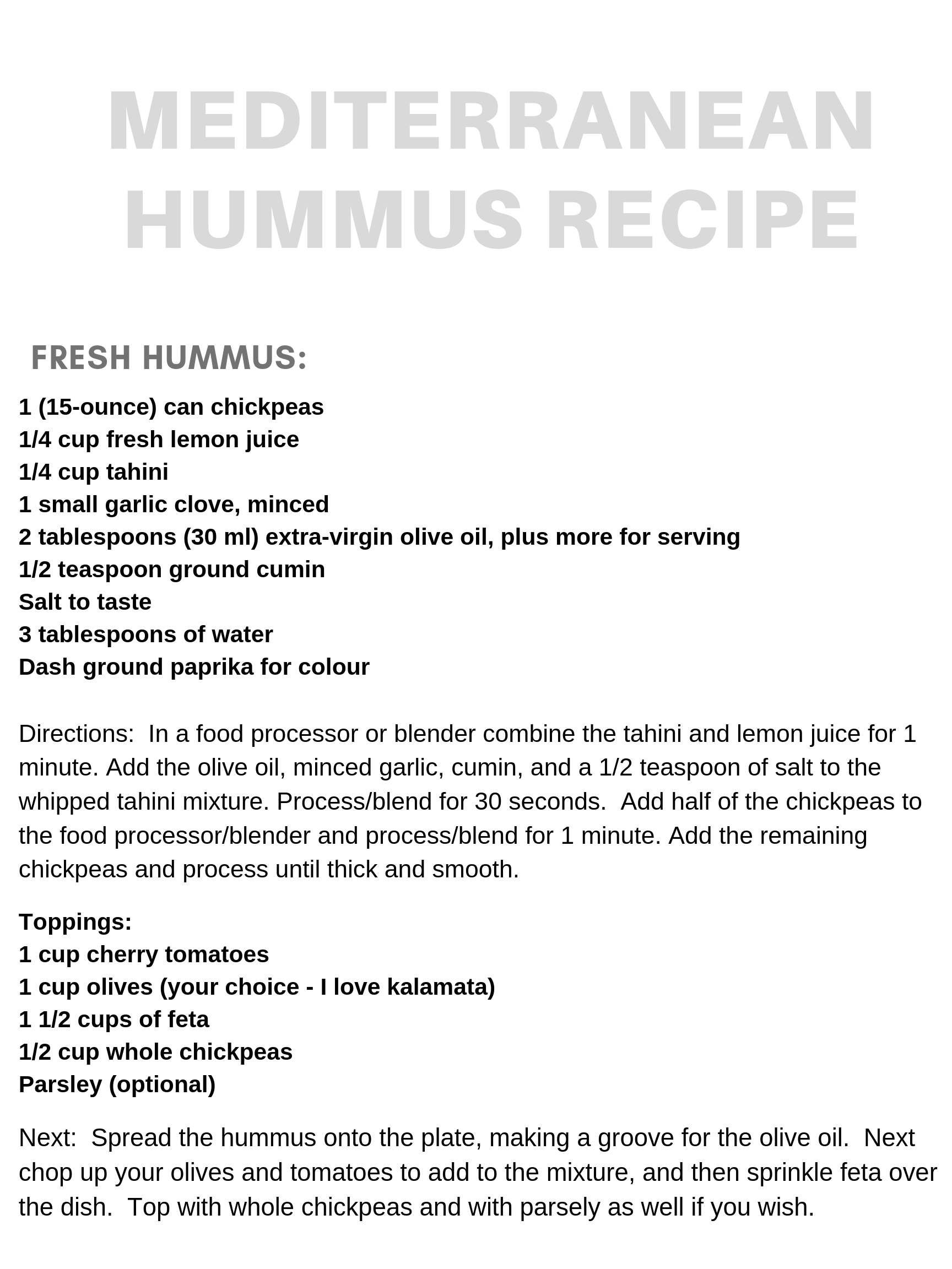 Mediterranean Hummus Dish