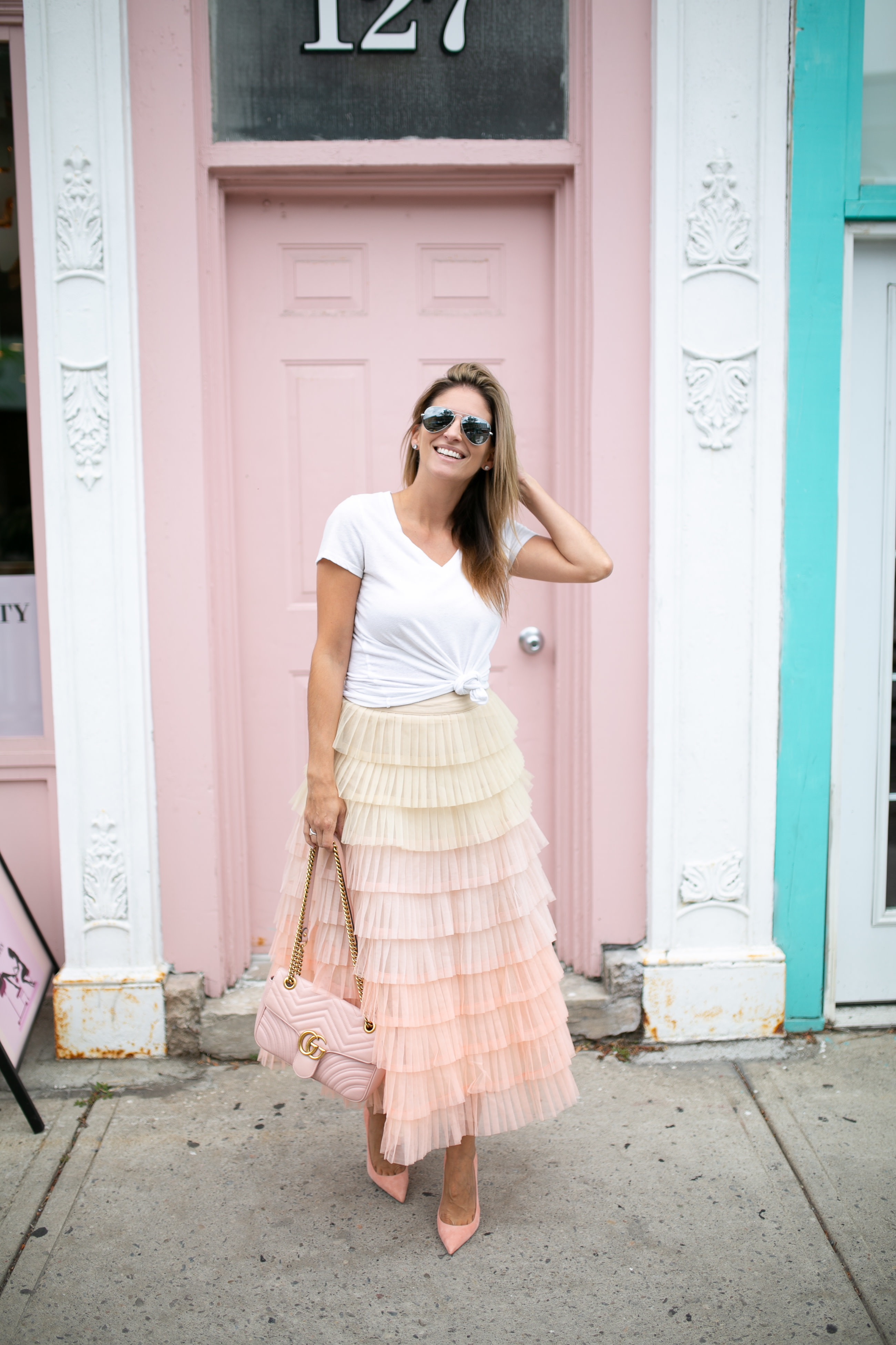 Sweetest Dream Chicwish Gradient Tiered Mesh Skirt; tiered maxi skirt; how to style a tulle skirt; fall fashion; durham region blogger Mandy Furnis; sparkleshinylove; whitby style blogger