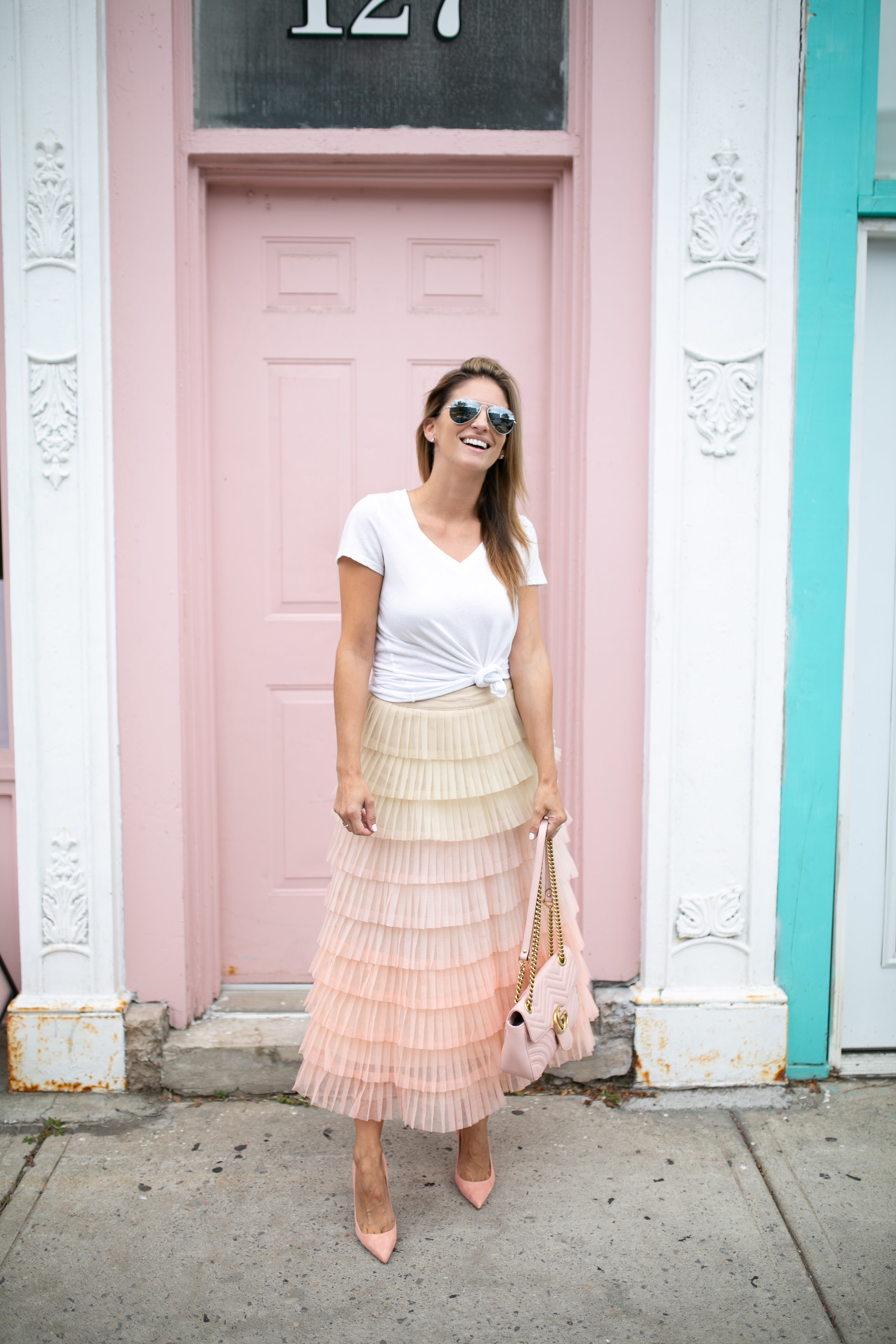 Sweetest DreamChicwish Gradient Tiered Mesh Skirt; tiered maxi skirt; how to style a tulle skirt; fall fashion; durham region blogger Mandy Furnis; sparkleshinylove; whitby style blogger