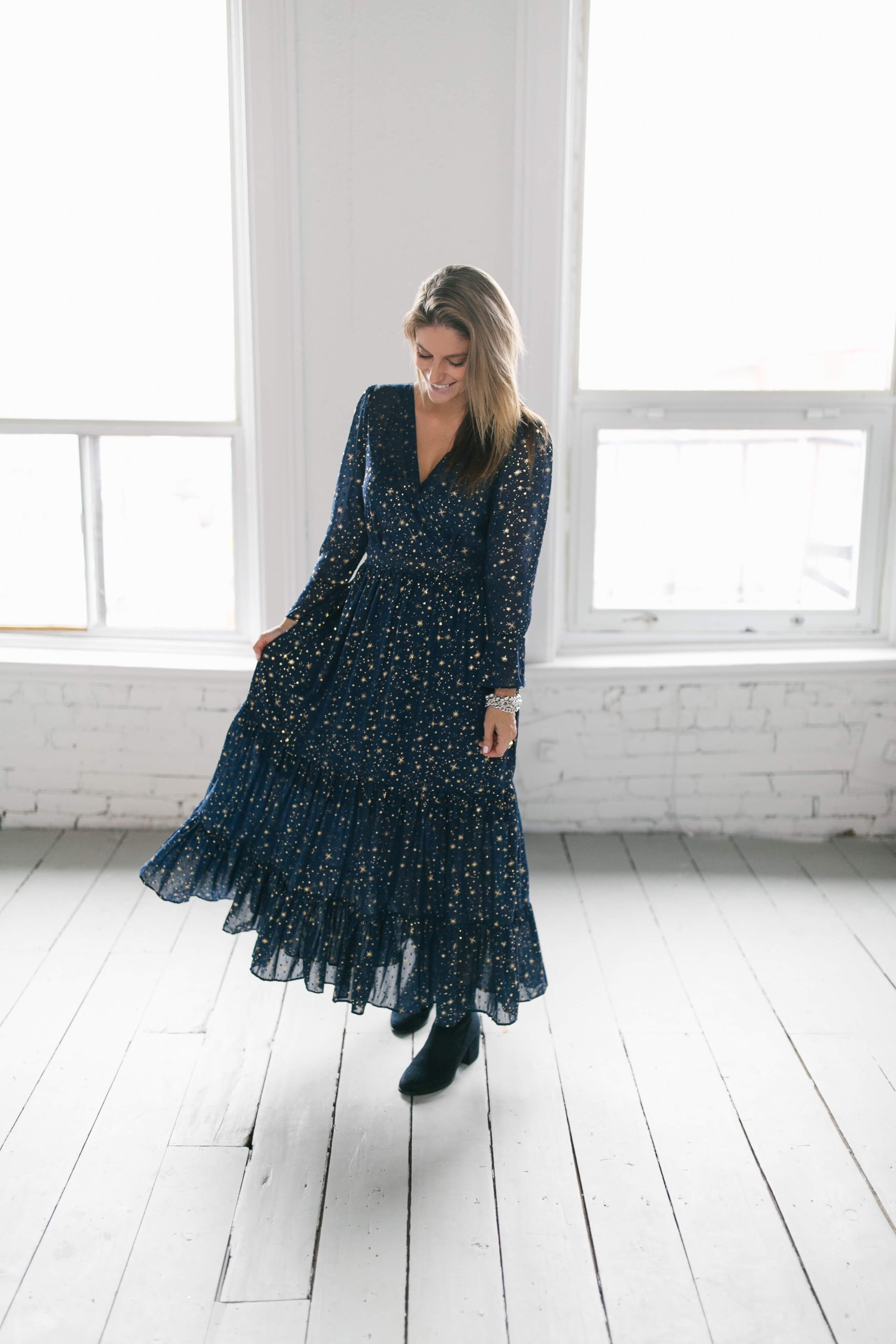 Women's Navy Star print maxi dress; navy ankle boots; star dress; mandy furnis sparkleshinylove