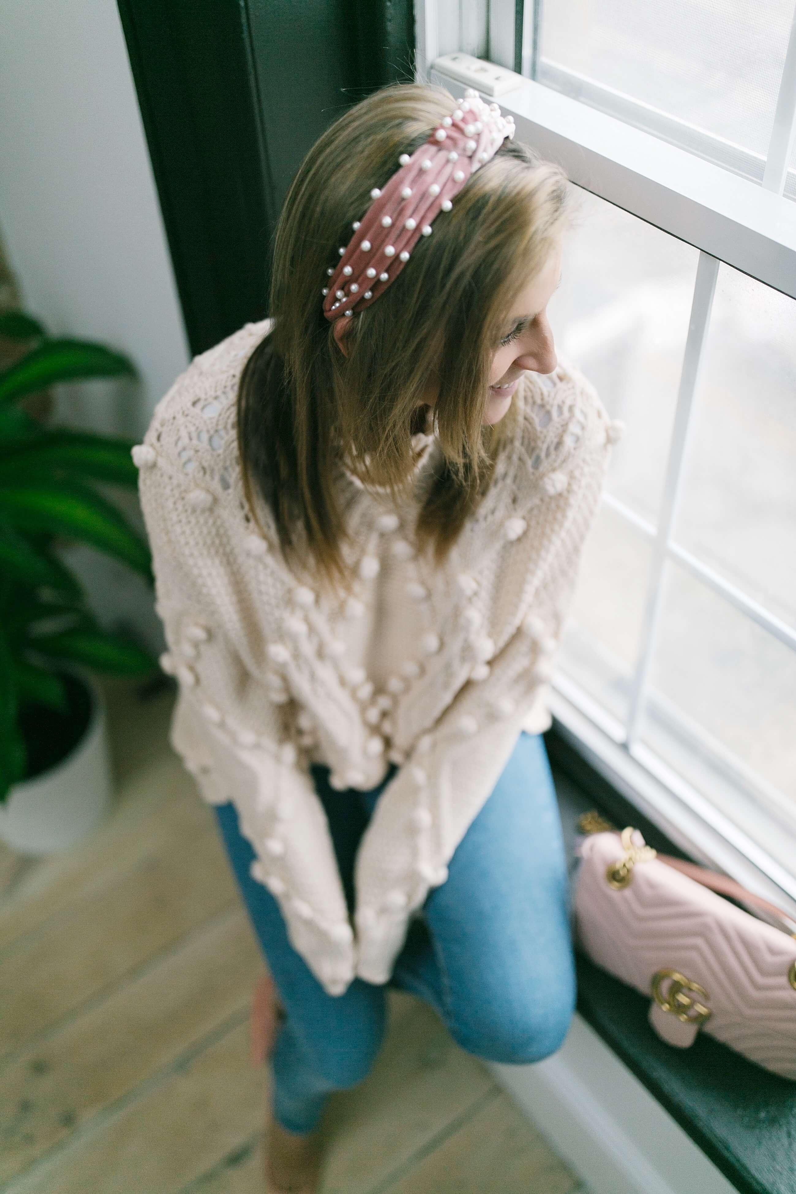 Chicwish pom pom sweater; pearl pink headband; mandy furnis sparkleshinylove