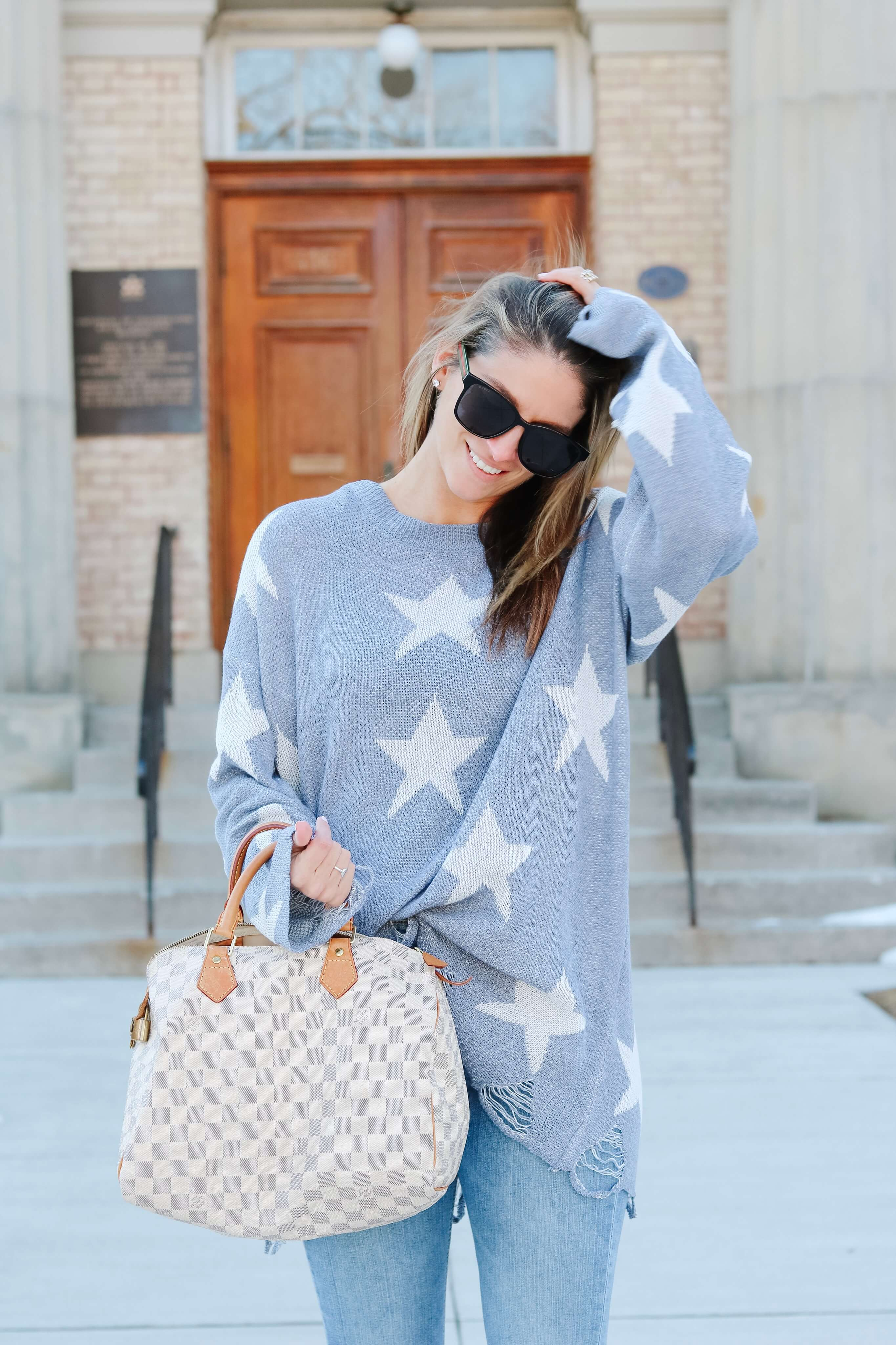 Amazon distressed state sweater; Amazon fashion finds